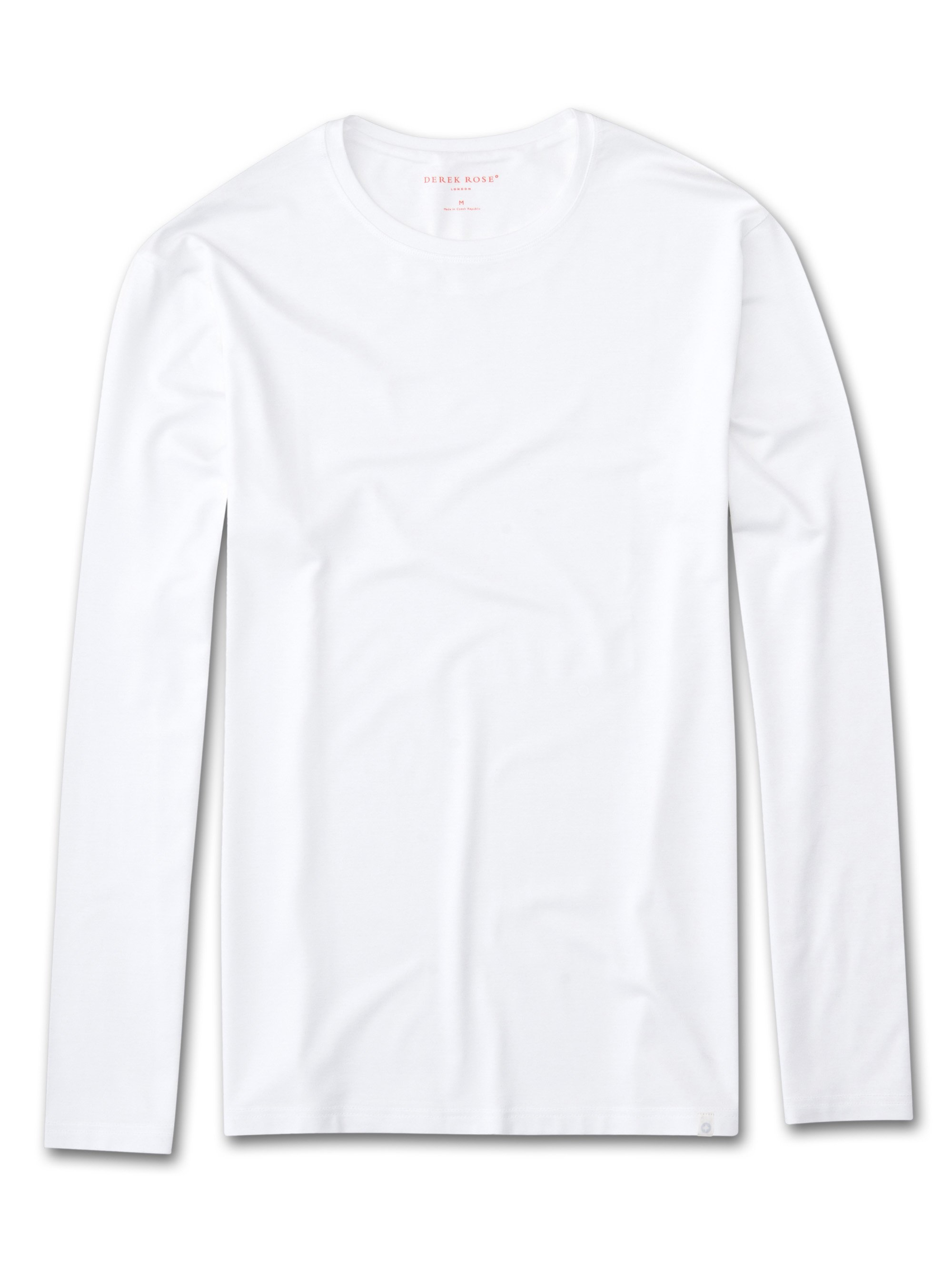 Derek Rose Men's Long Sleeve T-Shirt — Basel Micro Modal Stretch White