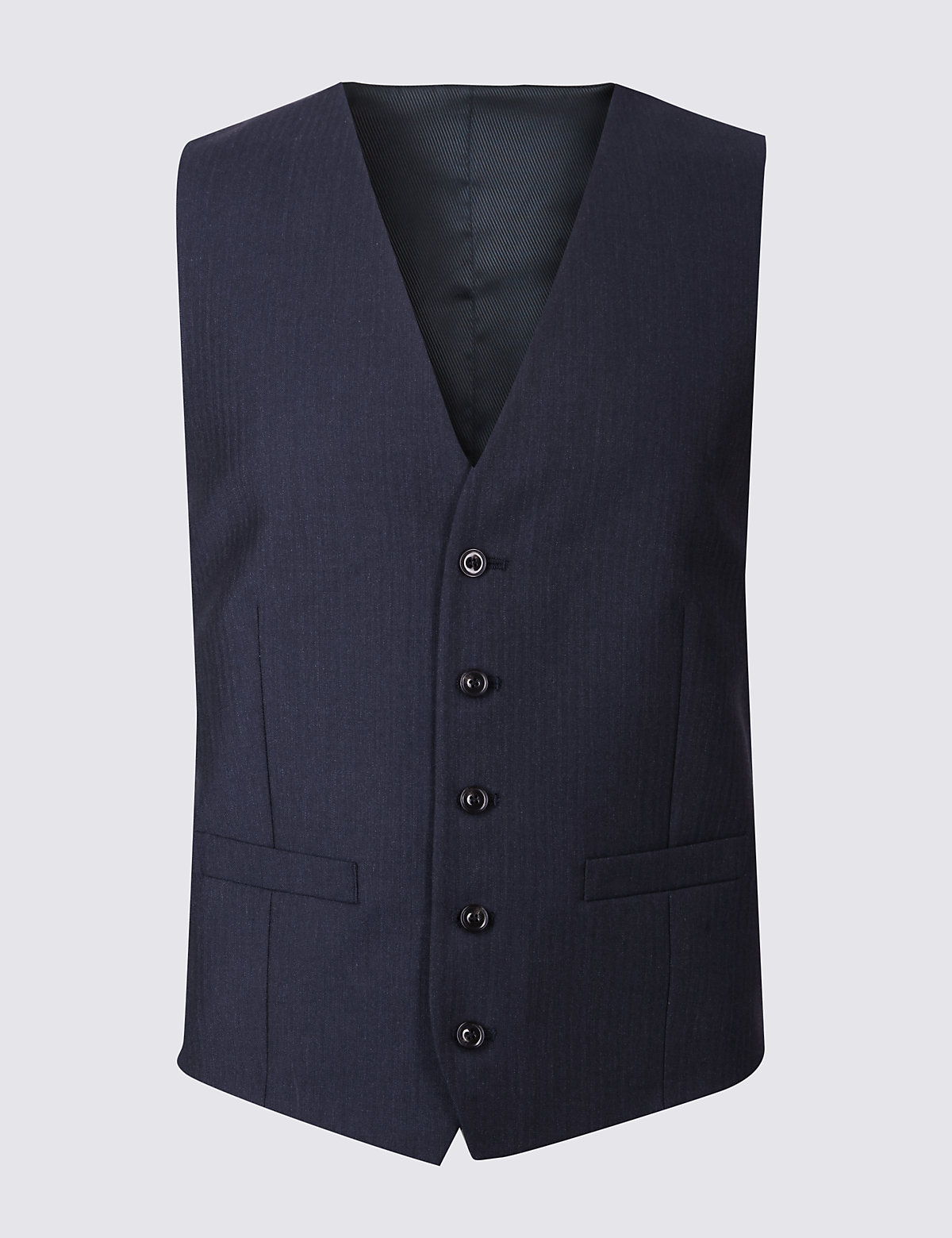 Marks & Spencer Navy Tailored Fit Wool Waistcoat