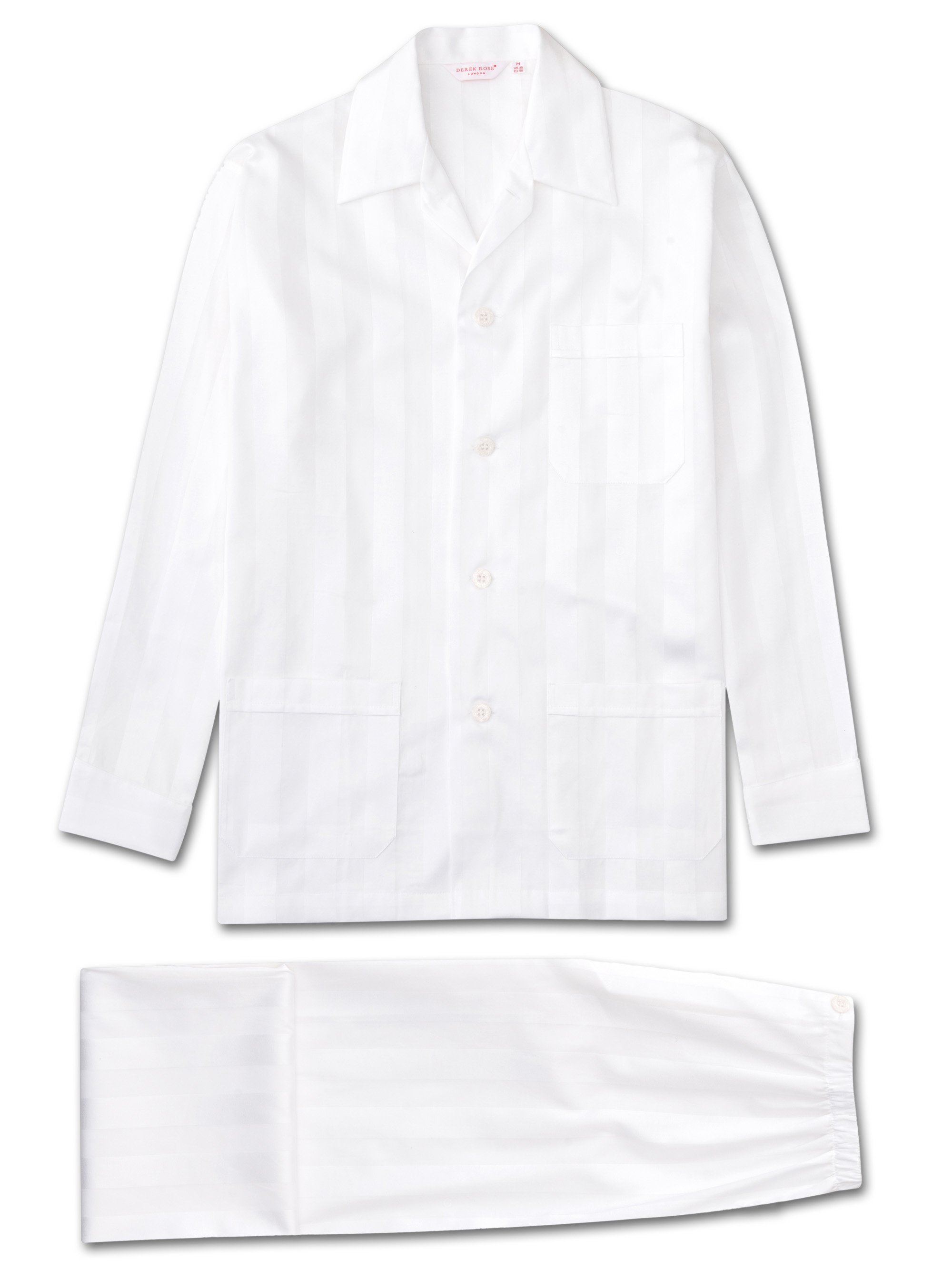 Derek Rose Men's Classic Fit Pyjamas — Lingfield Cotton Satin Stripe White
