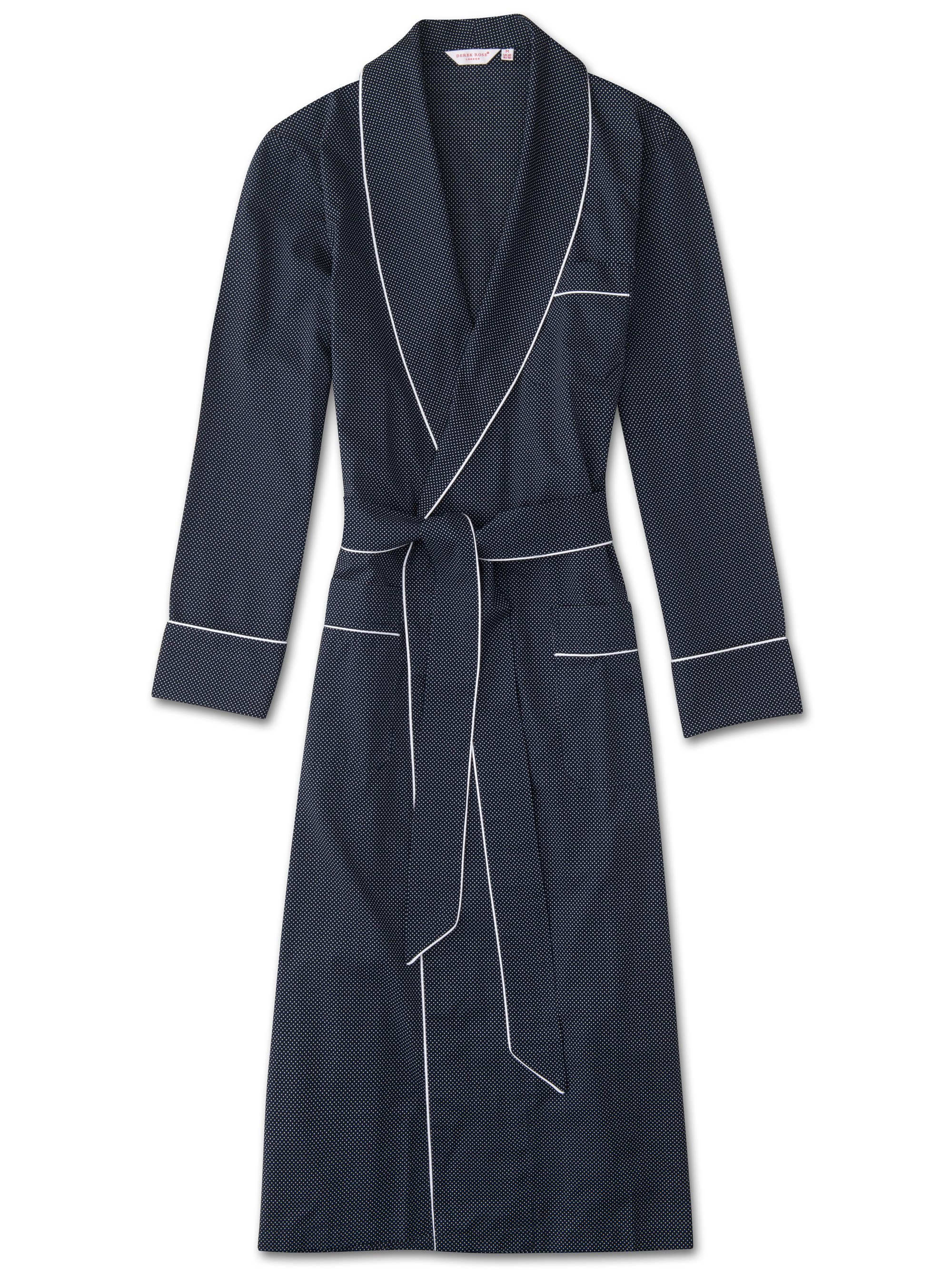 Derek Rose Men's Piped Dressing Gown — Plaza 21 Cotton Batiste Polka Dot Navy