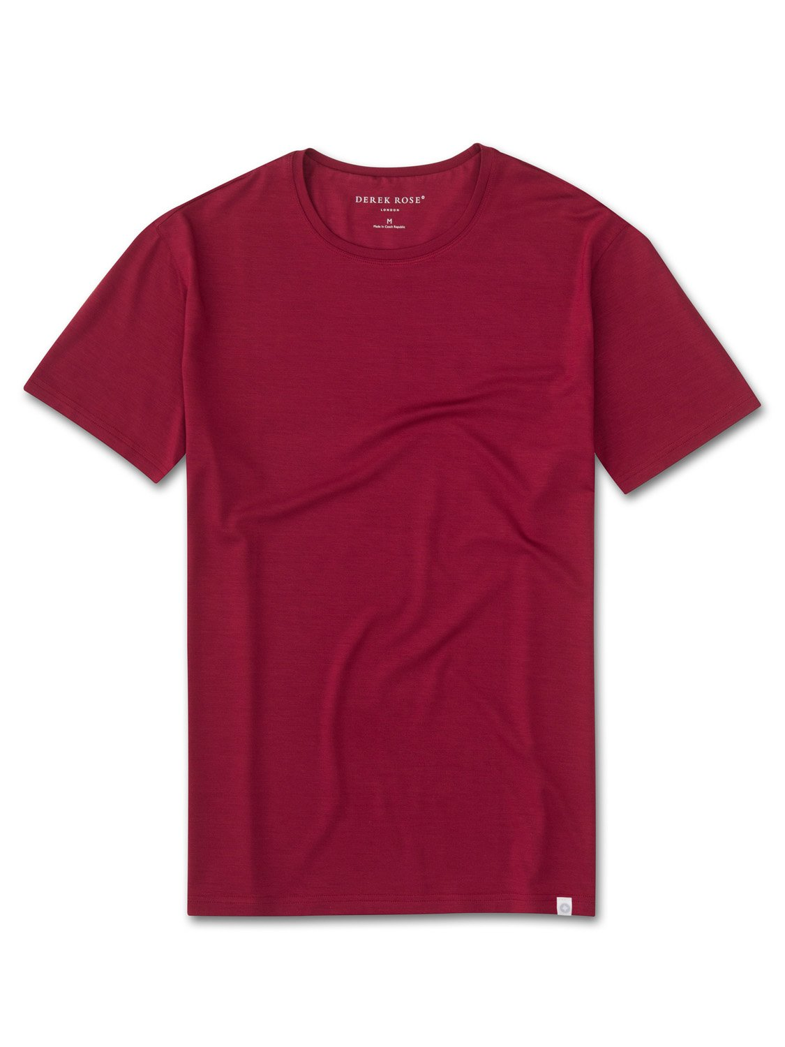 Derek Rose Men's Short Sleeve T-Shirt — Basel 3 Micro Modal Stretch Red