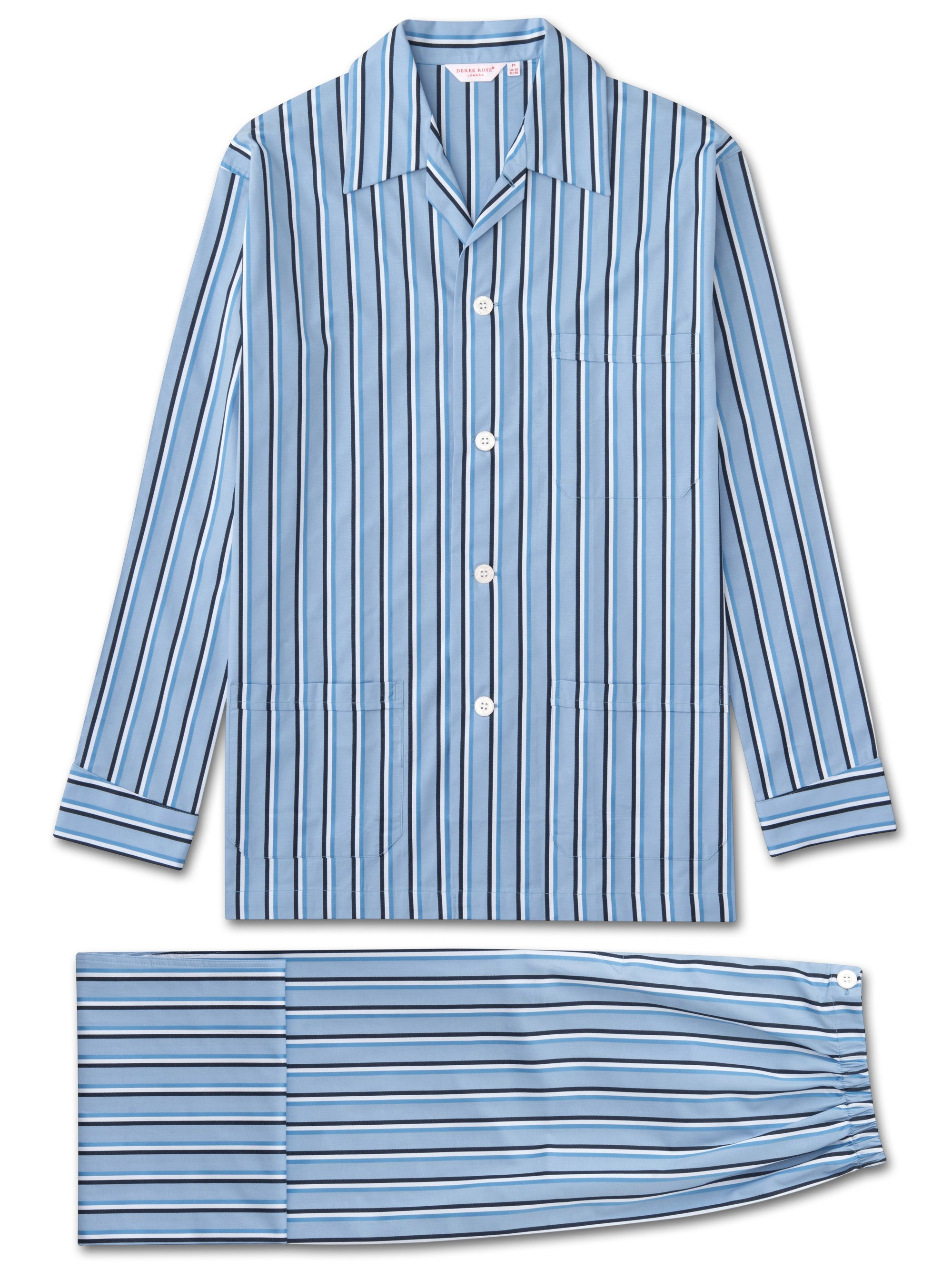 Derek Rose Men's Classic Fit Pyjamas — Mayfair 70 Cotton Satin Stripe Blue