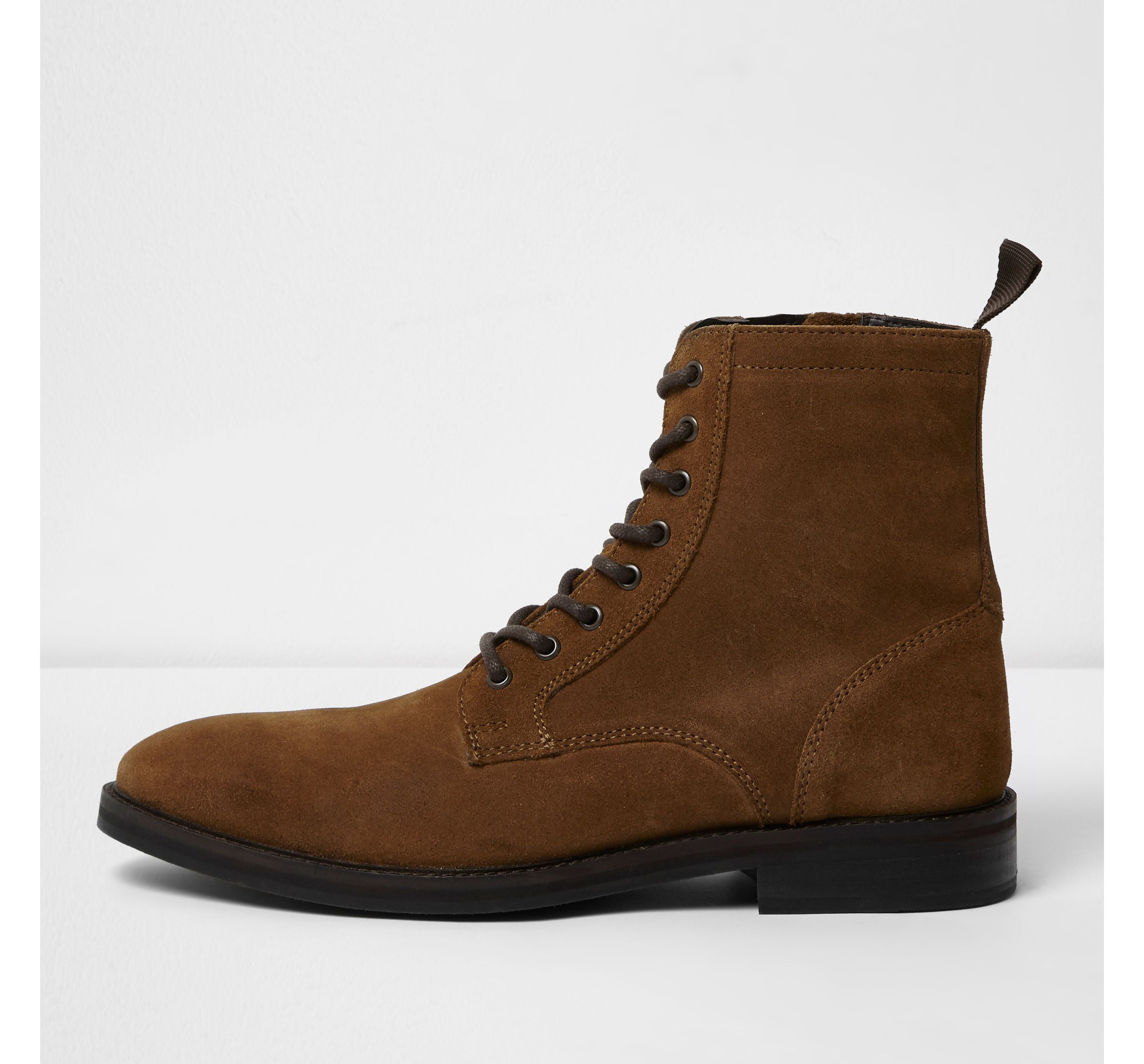 Mens Tan suede lace-up boots by River