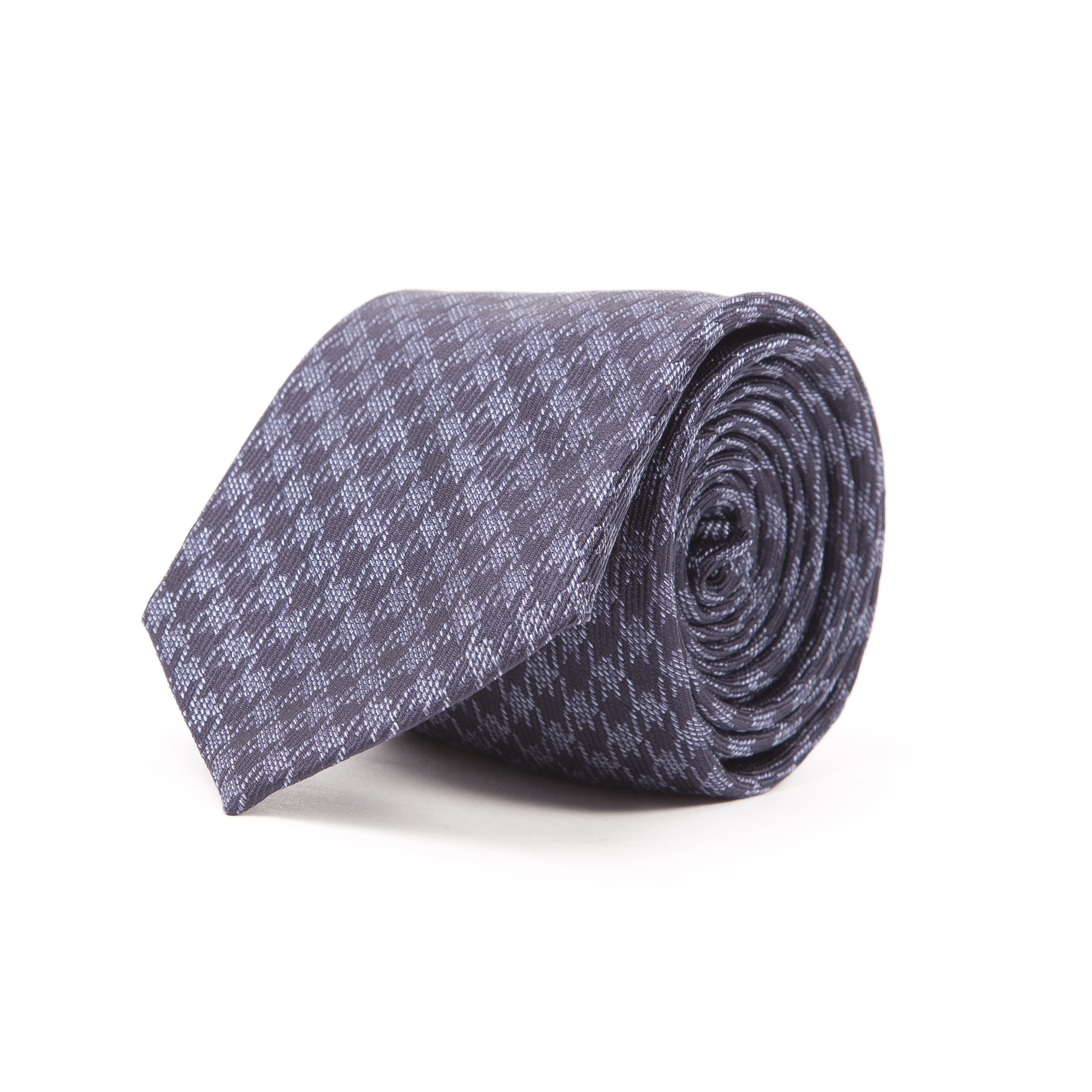 Timothy Everest Navy and Blue Dogstooth Pattern Tie