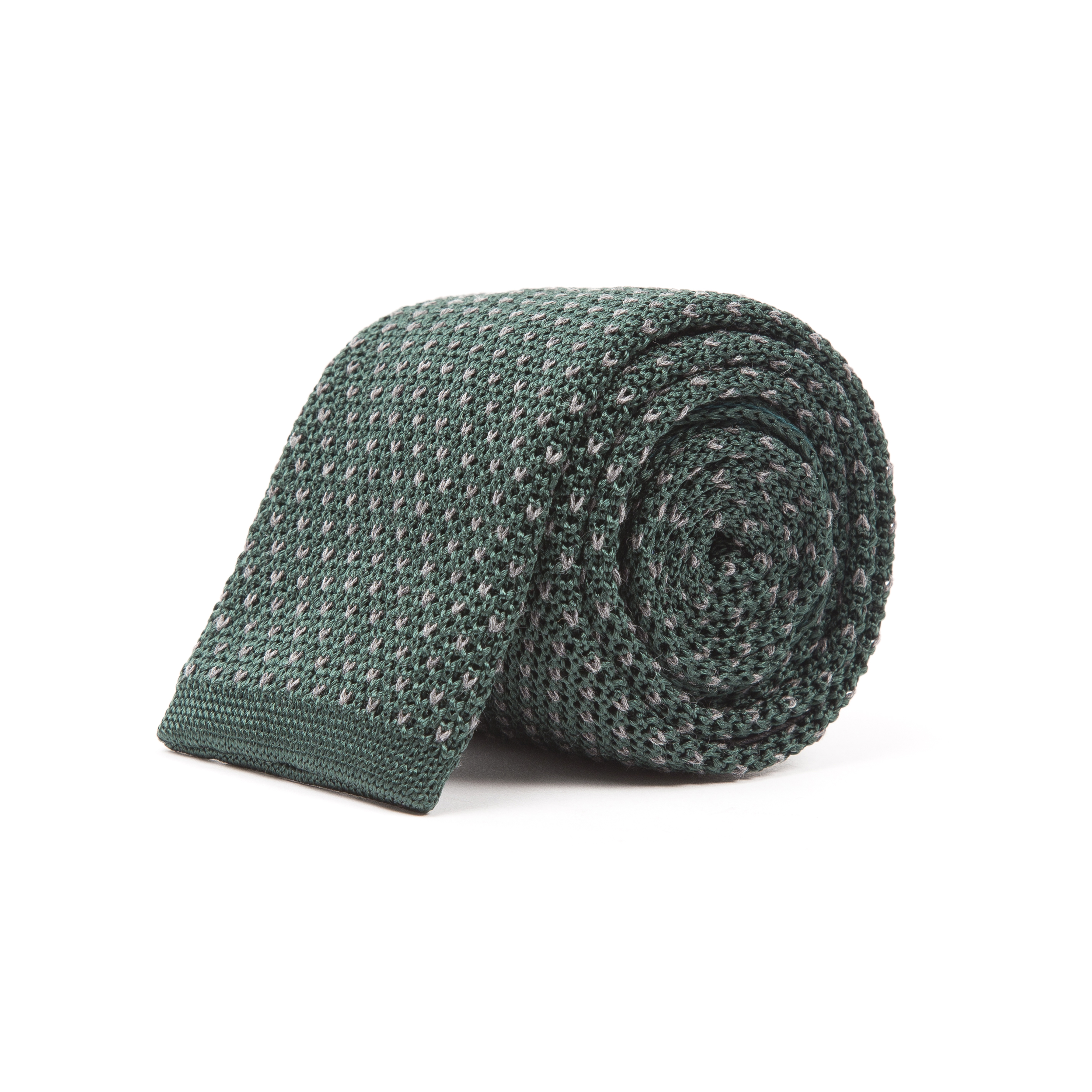 Timothy Everest Green Knitted Tie with Contrast Dots