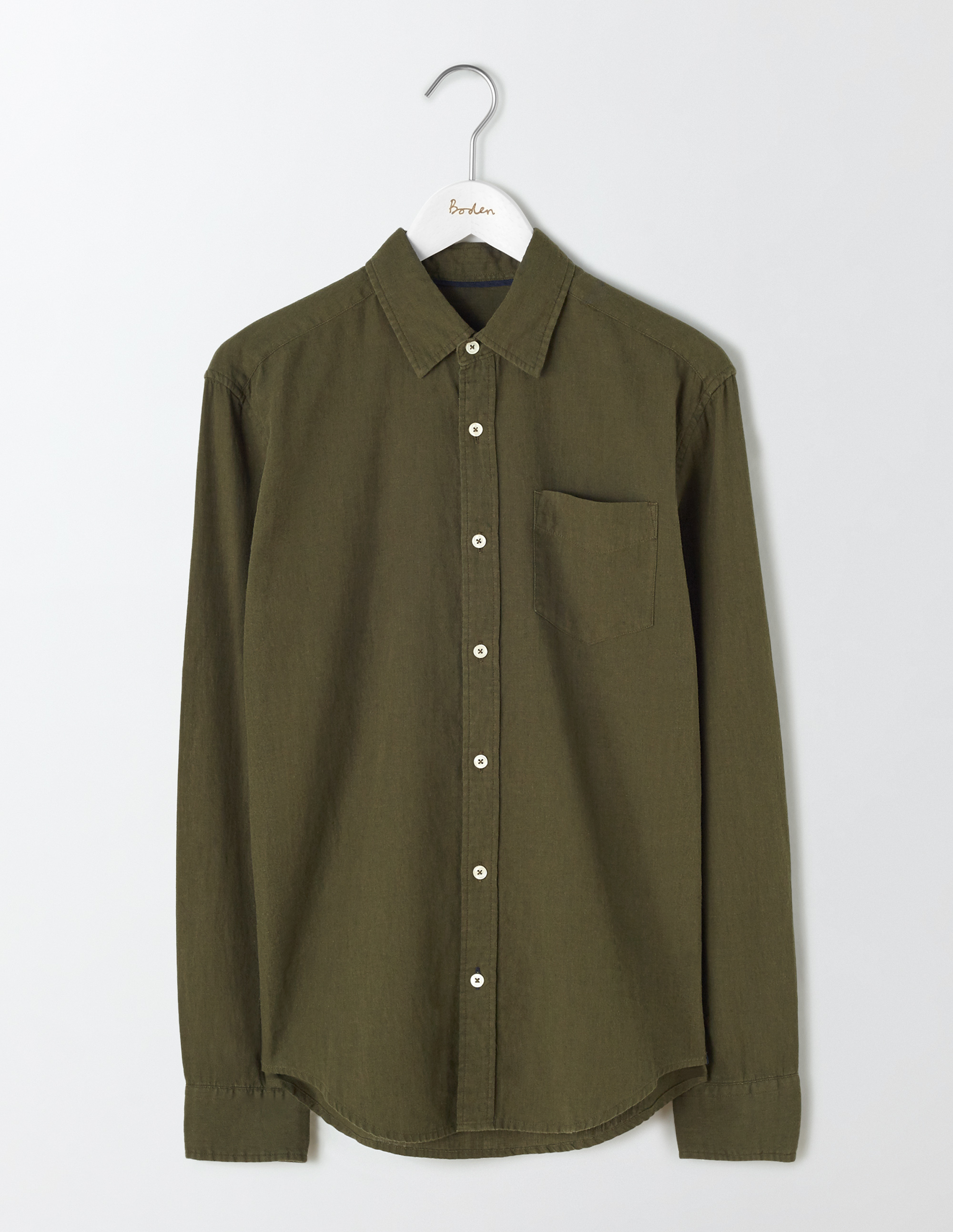 Boden Dark Olive Linen Cotton Shirt