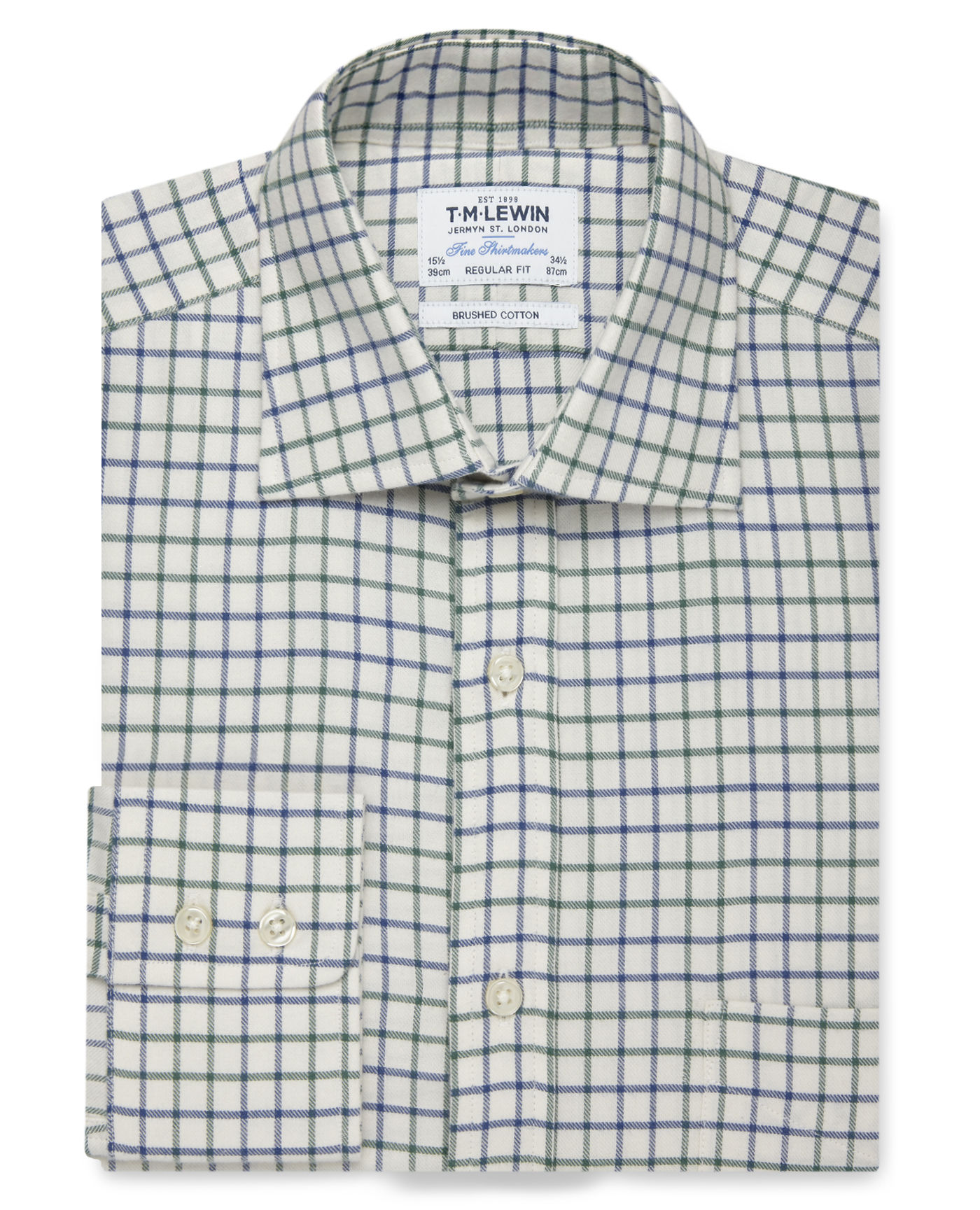 T.M.Lewin Brushed Cotton Cream Green Large Check Regular Fit Button Cuff Shirt