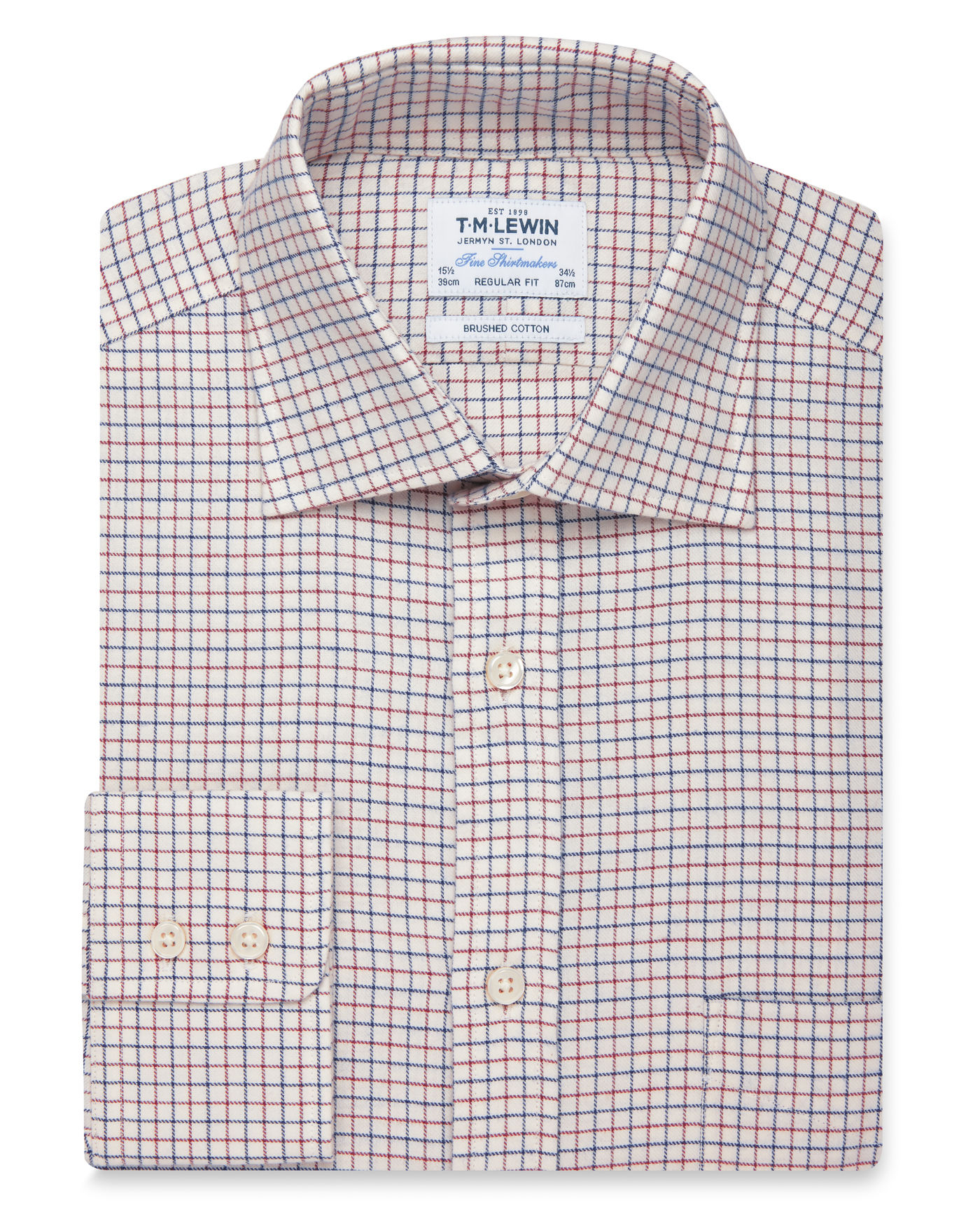 T.M.Lewin Brushed Cotton Cream Red Large Check Regular Fit Button Cuff Shirt