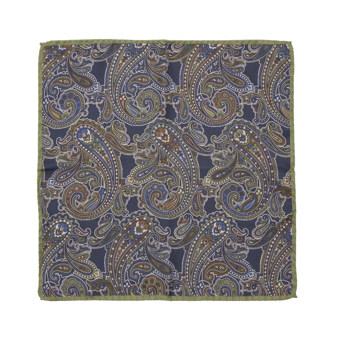 Timothy Everest Navy and Lime Green Double Sided Pocket Square