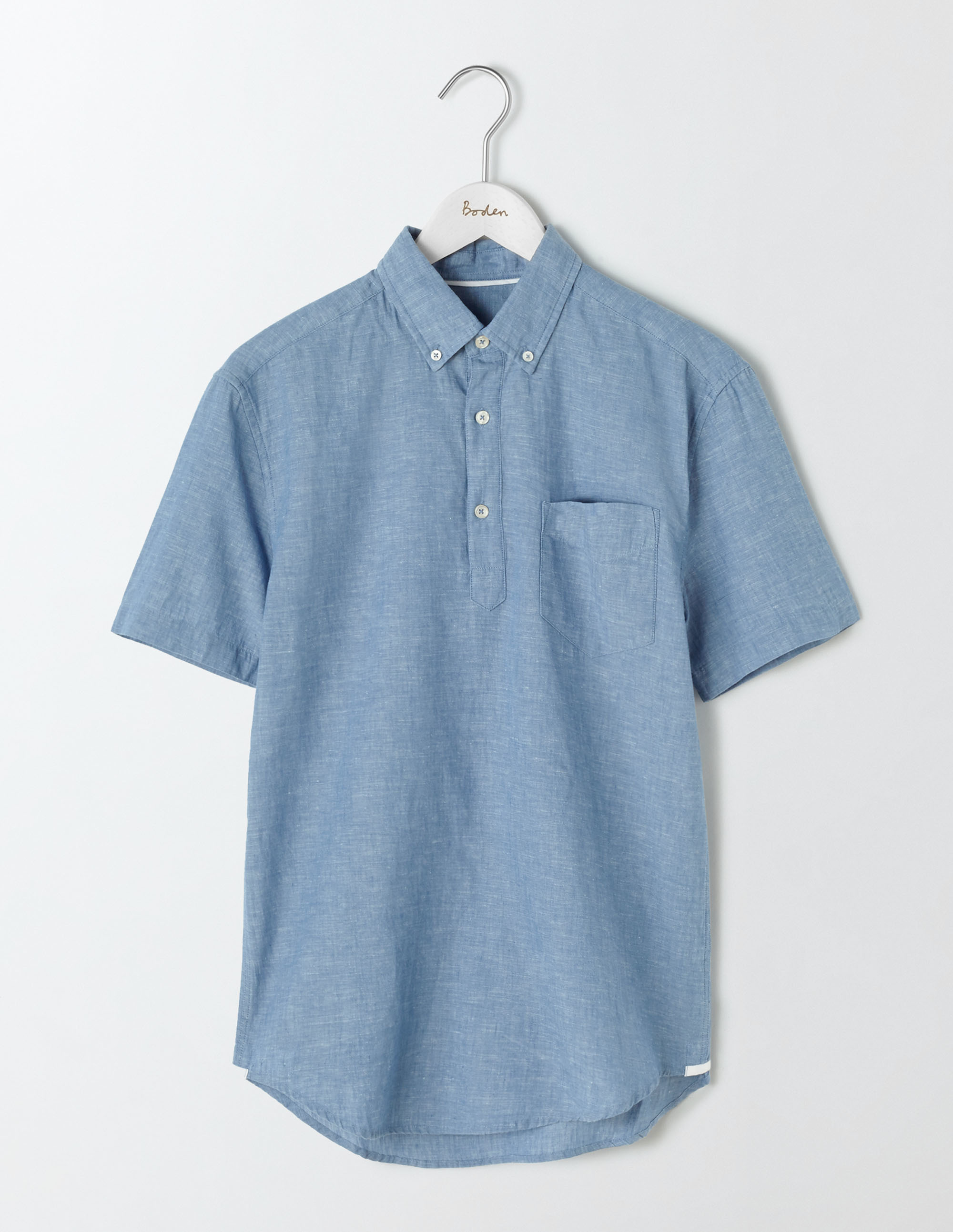 Boden Washed Navy Linen Cotton Popover