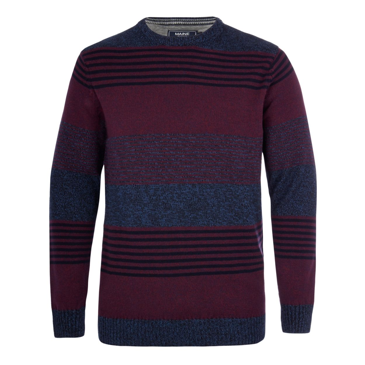 Maine New England Maroon twist knit striped crew neck jumper