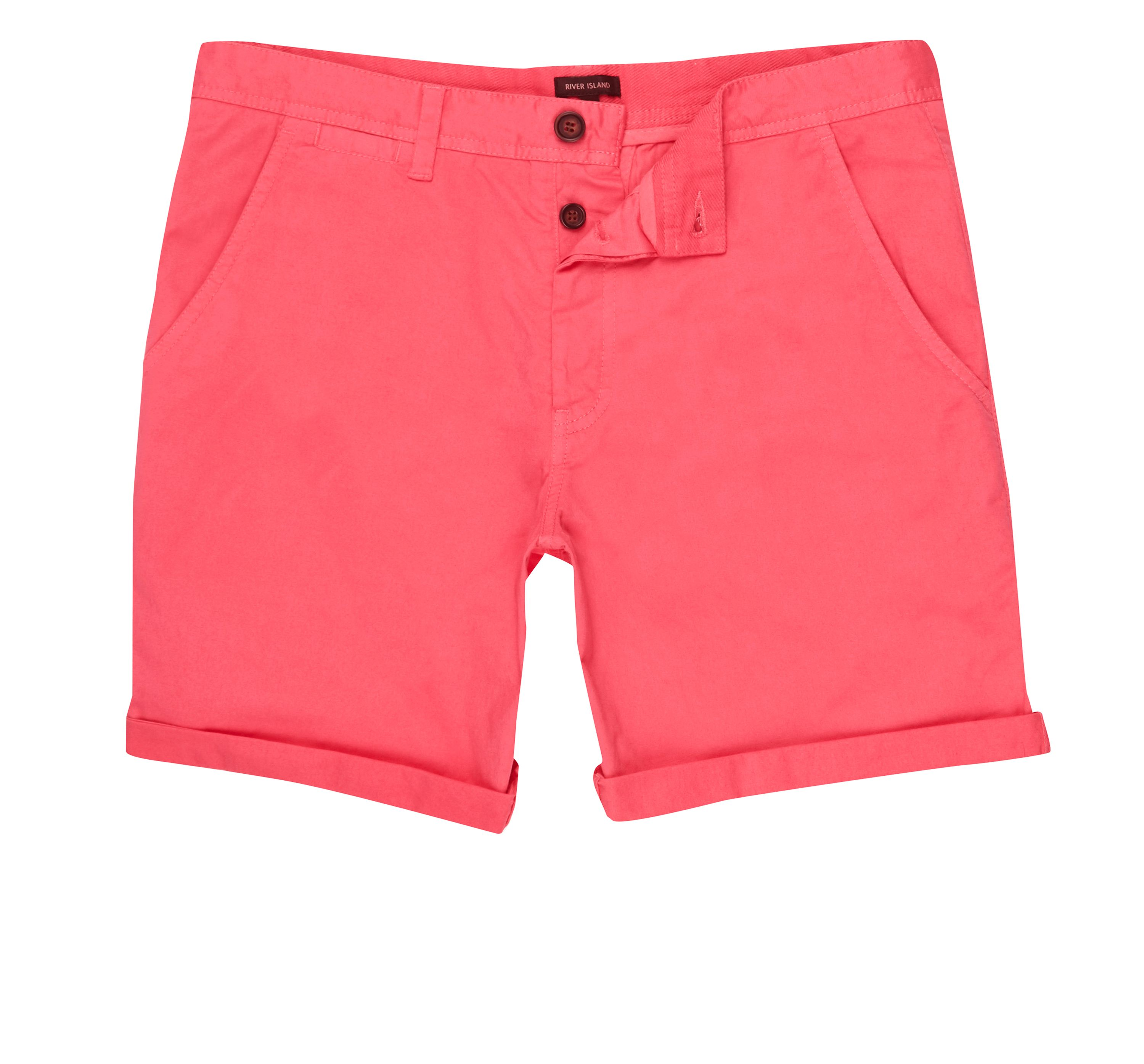 River Island Mens Bright Red rolled hem chino shorts