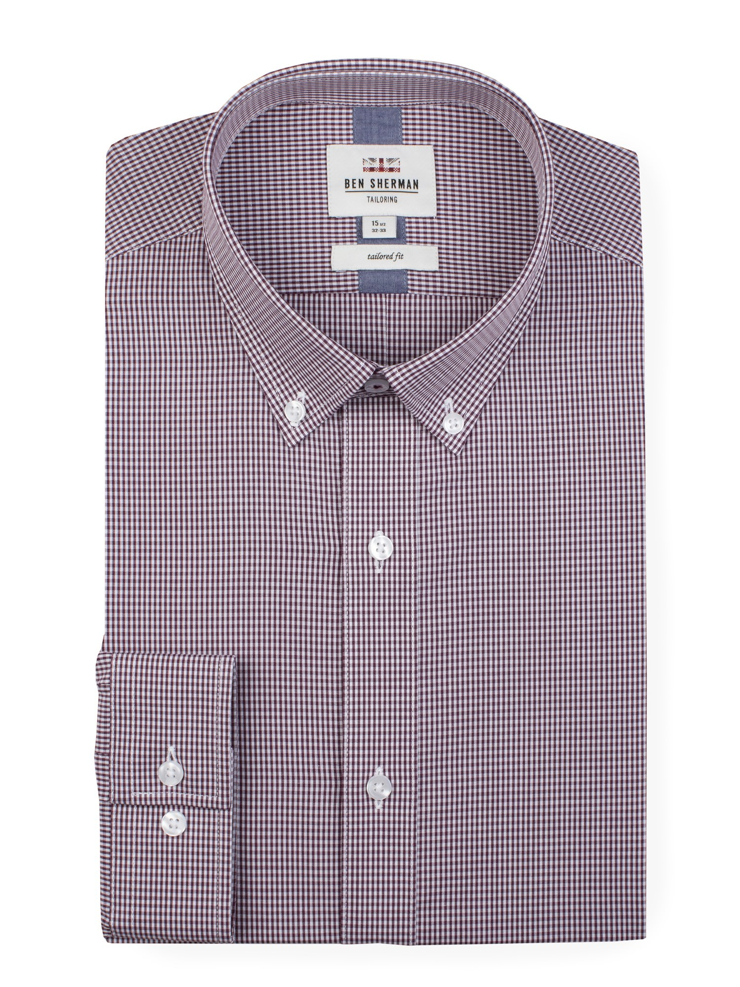 Ben Sherman Wine Long Sleeve Gingham Formal Shirt