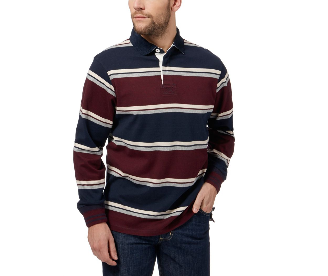 Maine New England Maroon stripe rugby shirt
