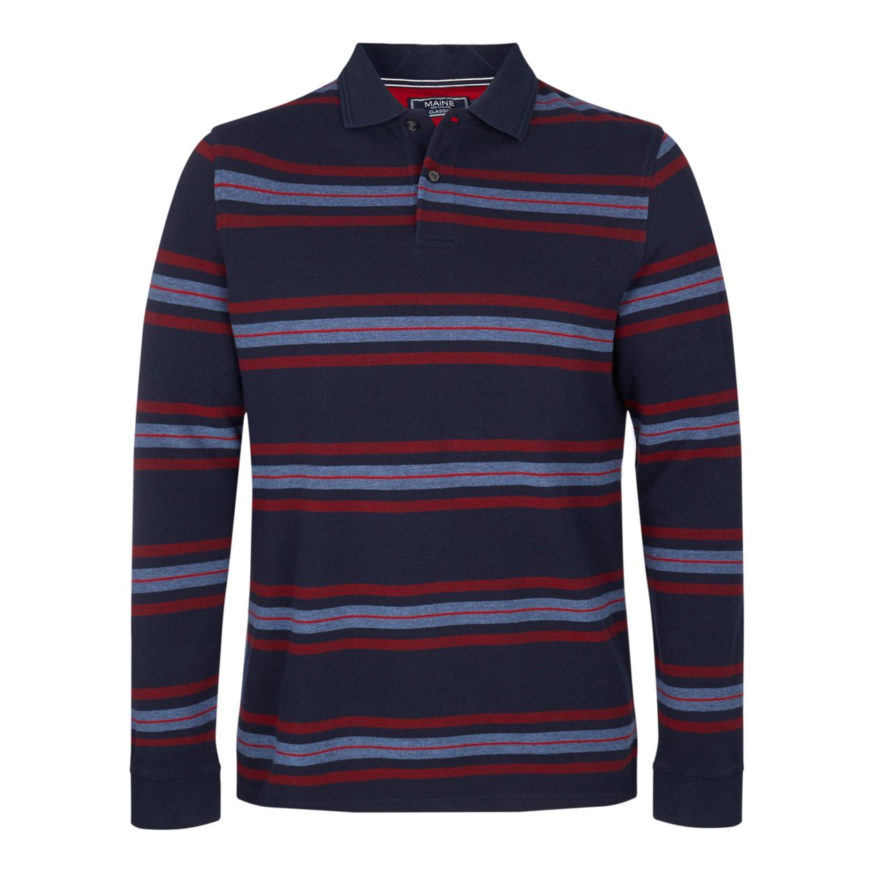 Maine New England Navy bedstone striped long sleeve polo shirt