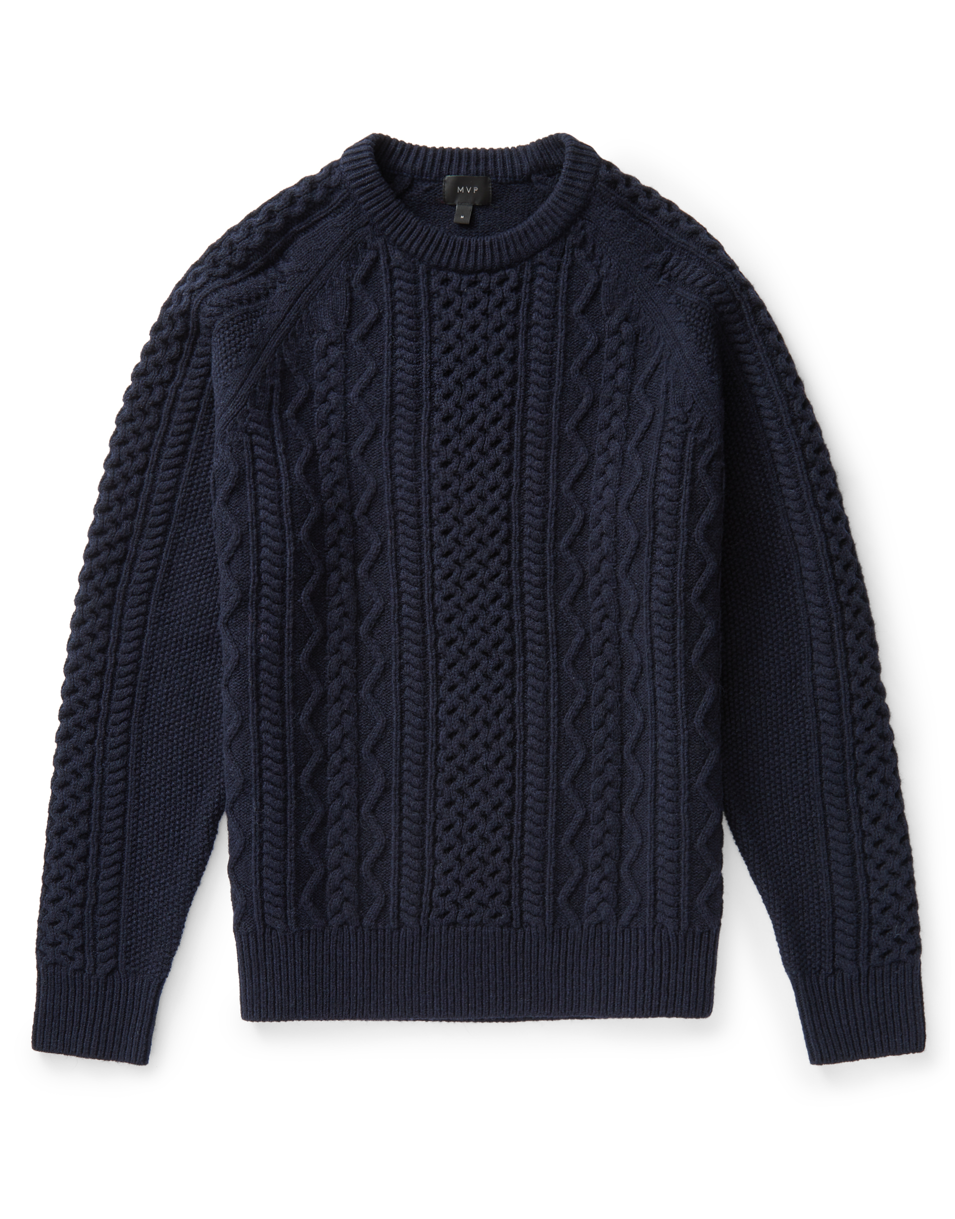 MVP Navy Finnis Lambswool Cable Knit Sweater