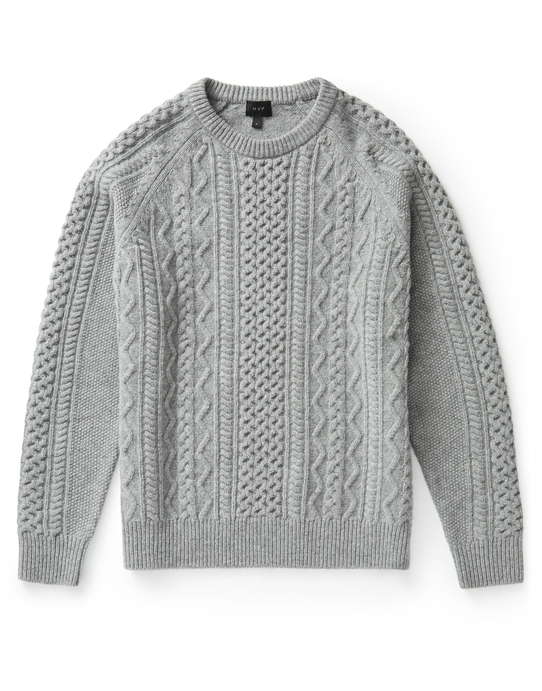 MVP Grey Finnis Lambswool Cable Knit Sweater