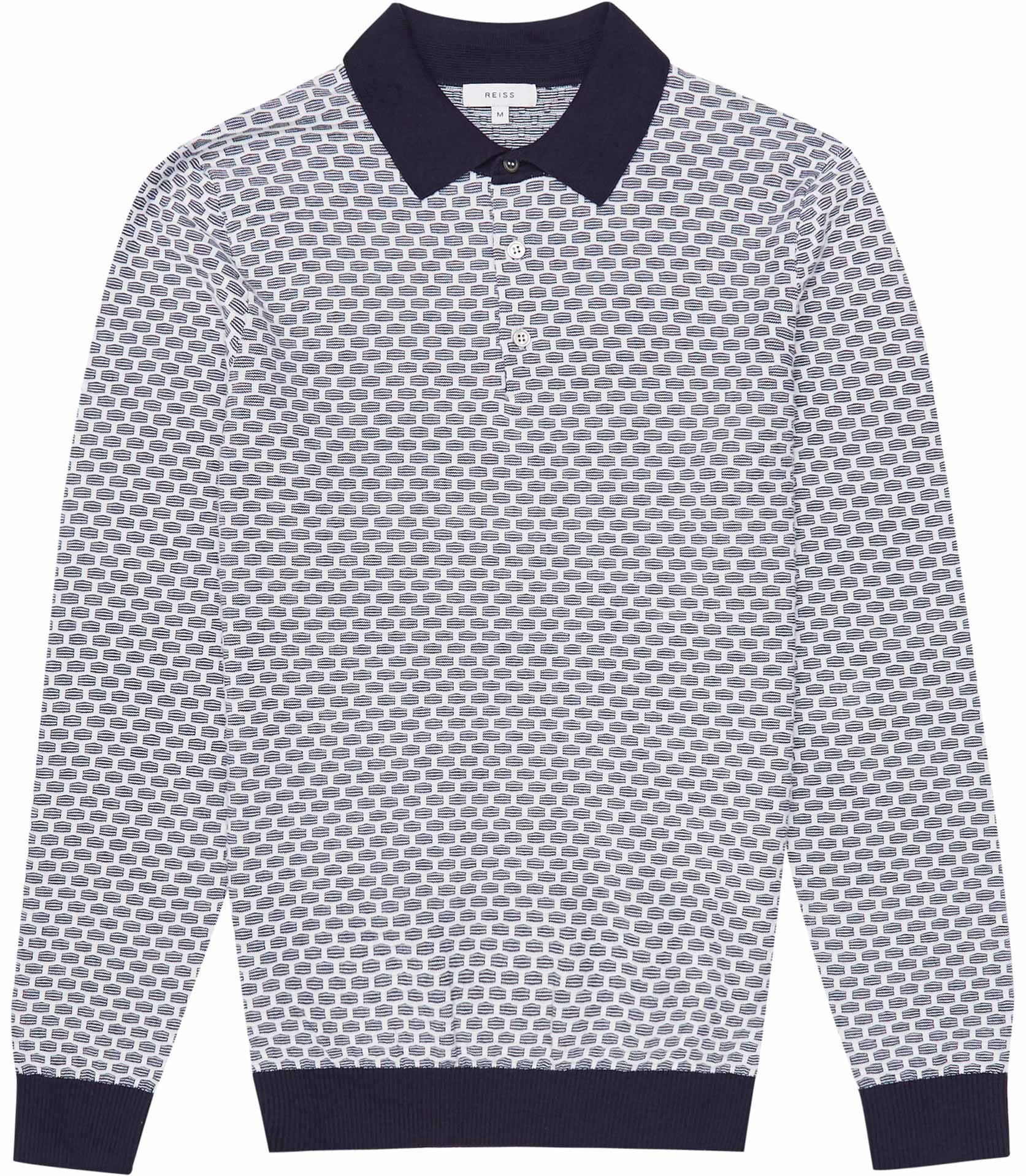 Reiss Navy Ian Textured-Knit Polo Jumper