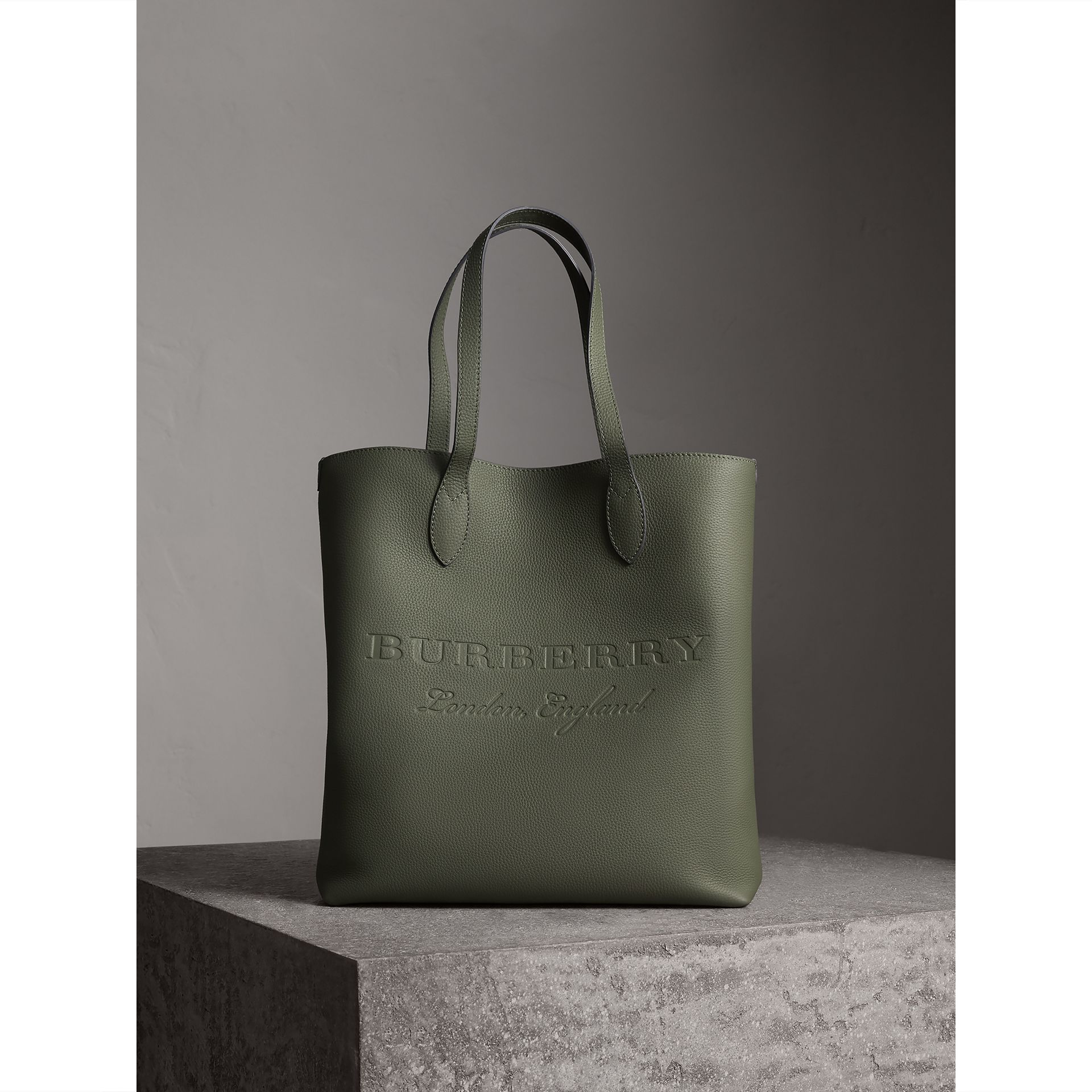3aae90aa5e7 ... authorized site 57496 670bb Burberry Slate Green Medium Embossed  Leather Tote ...