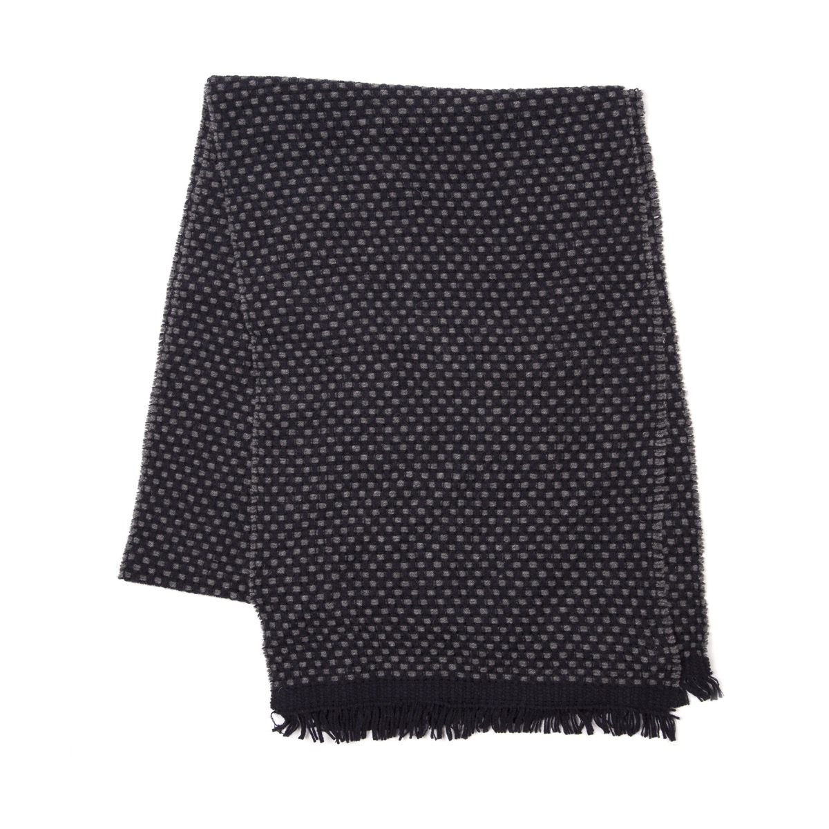 Timothy Everest Charcoal and Navy Link Stitch Scarf