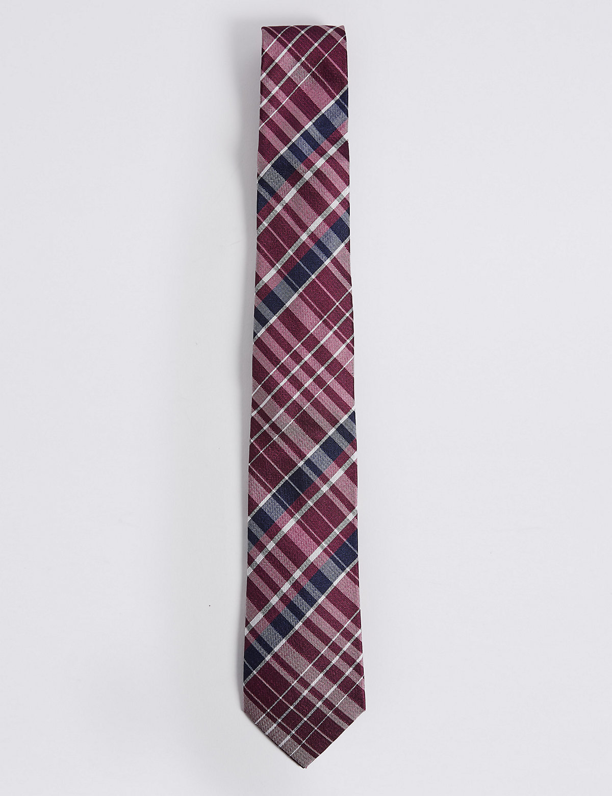 Marks & Spencer Magenta Mix Pure Silk Checked Tie