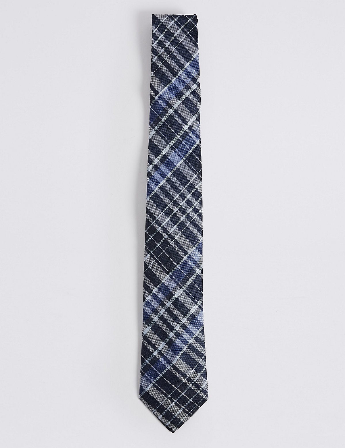 Marks & Spencer Navy Mix Pure Silk Checked Tie