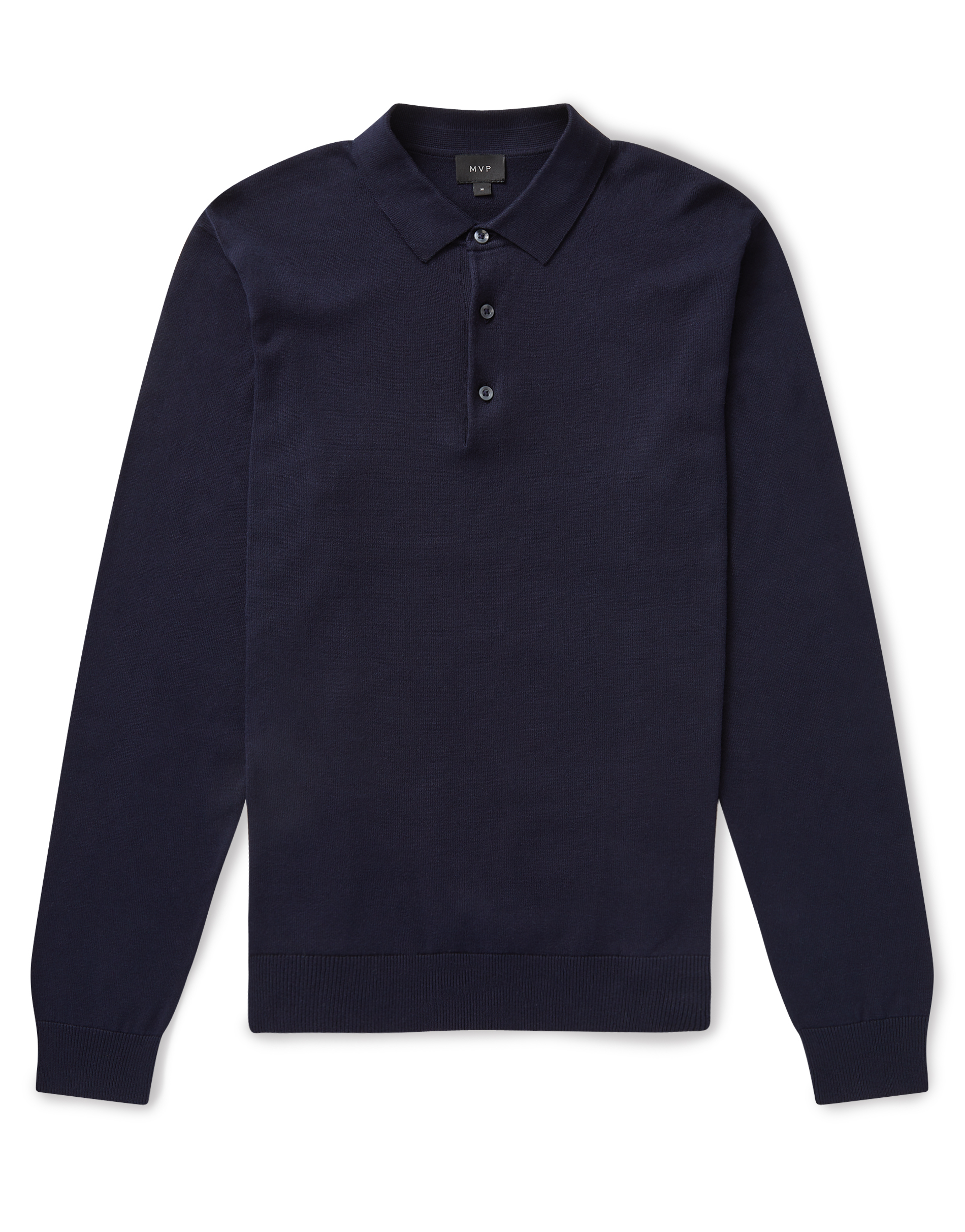 MVP Navy Palmers Long Sleeve Knitted Polo Shirt