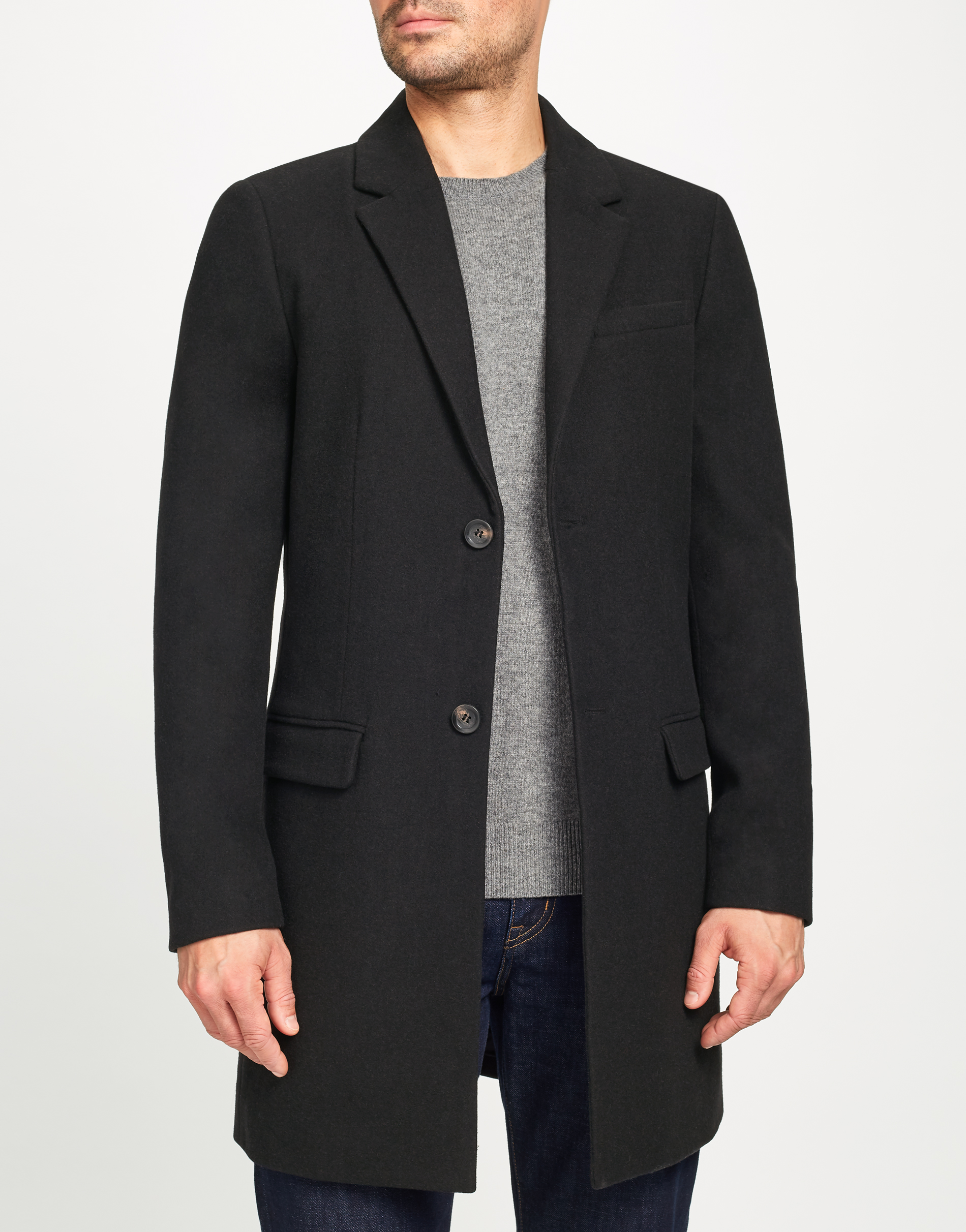 MVP Greenwood Single Breasted Wool Blend Coat - Black