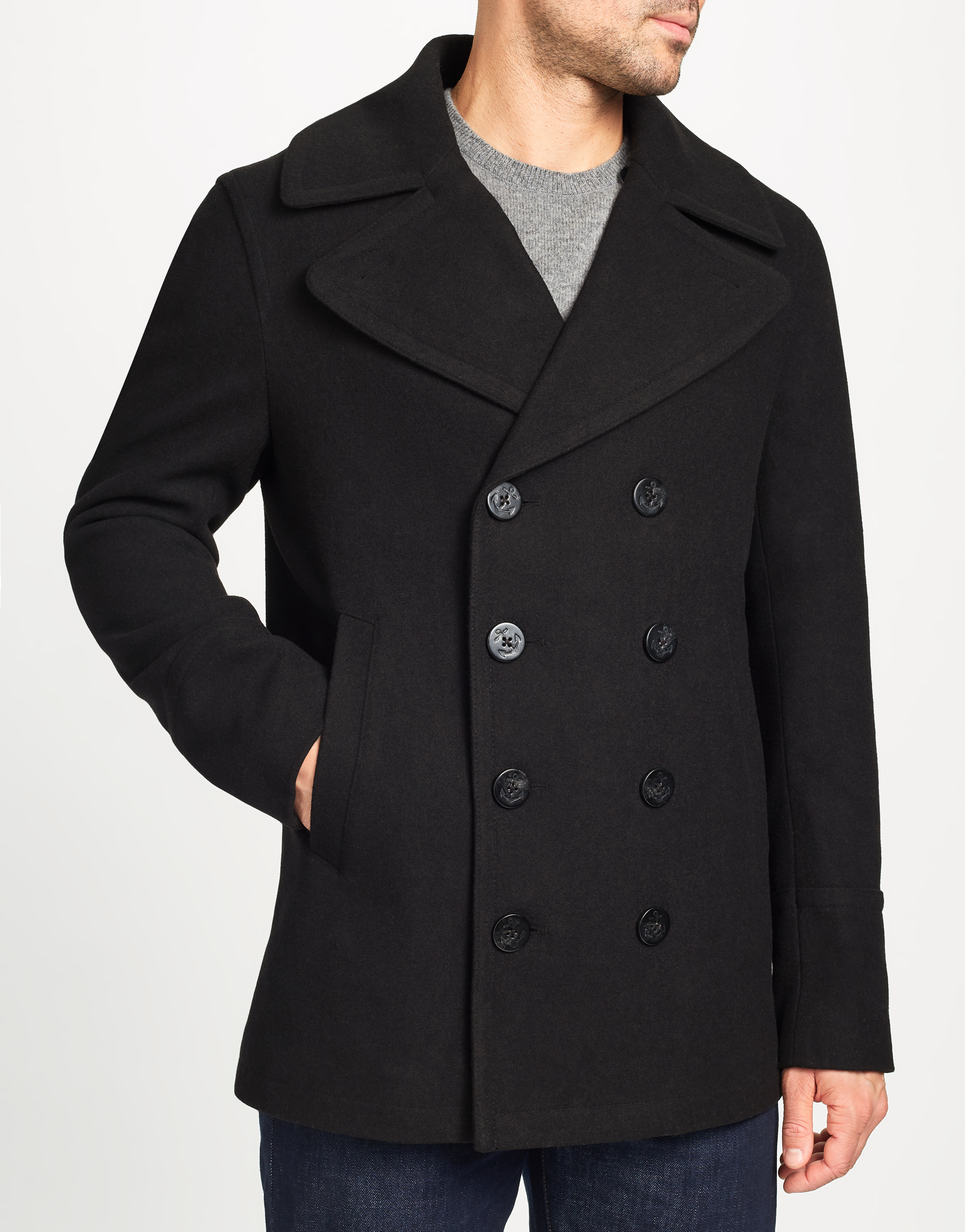 MVP Garner Wool Blend Pea Coat - Black