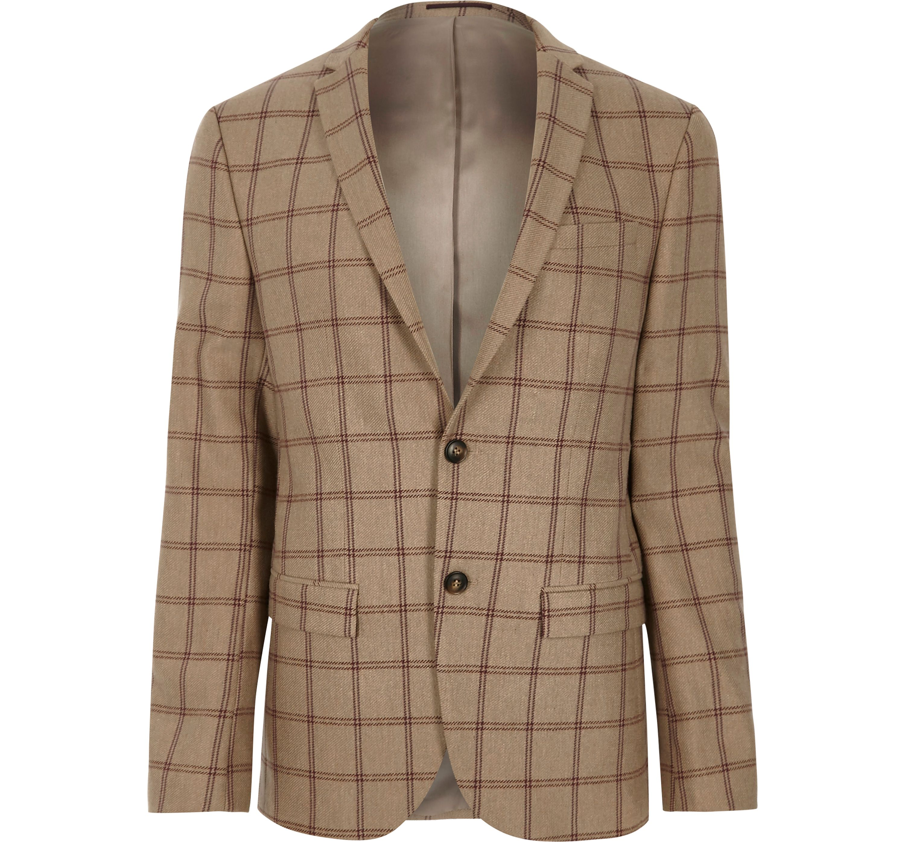 River Island Mens Beige check skinny fit suit jacket
