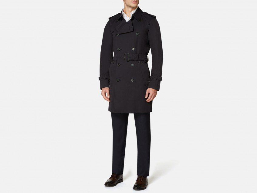 Aquascutum Navy Corby Double Breasted Trench Coat