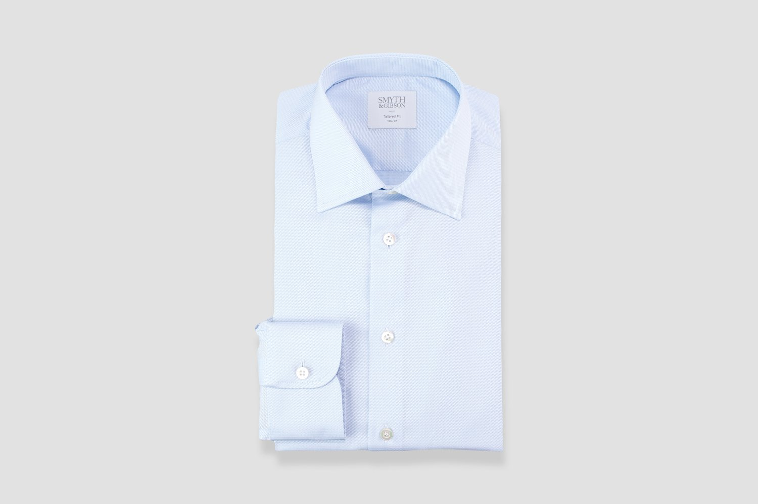 Smyth & Gibson Basket Weave Tonal Dashes Tailored Fit Shirt in Sky Blue