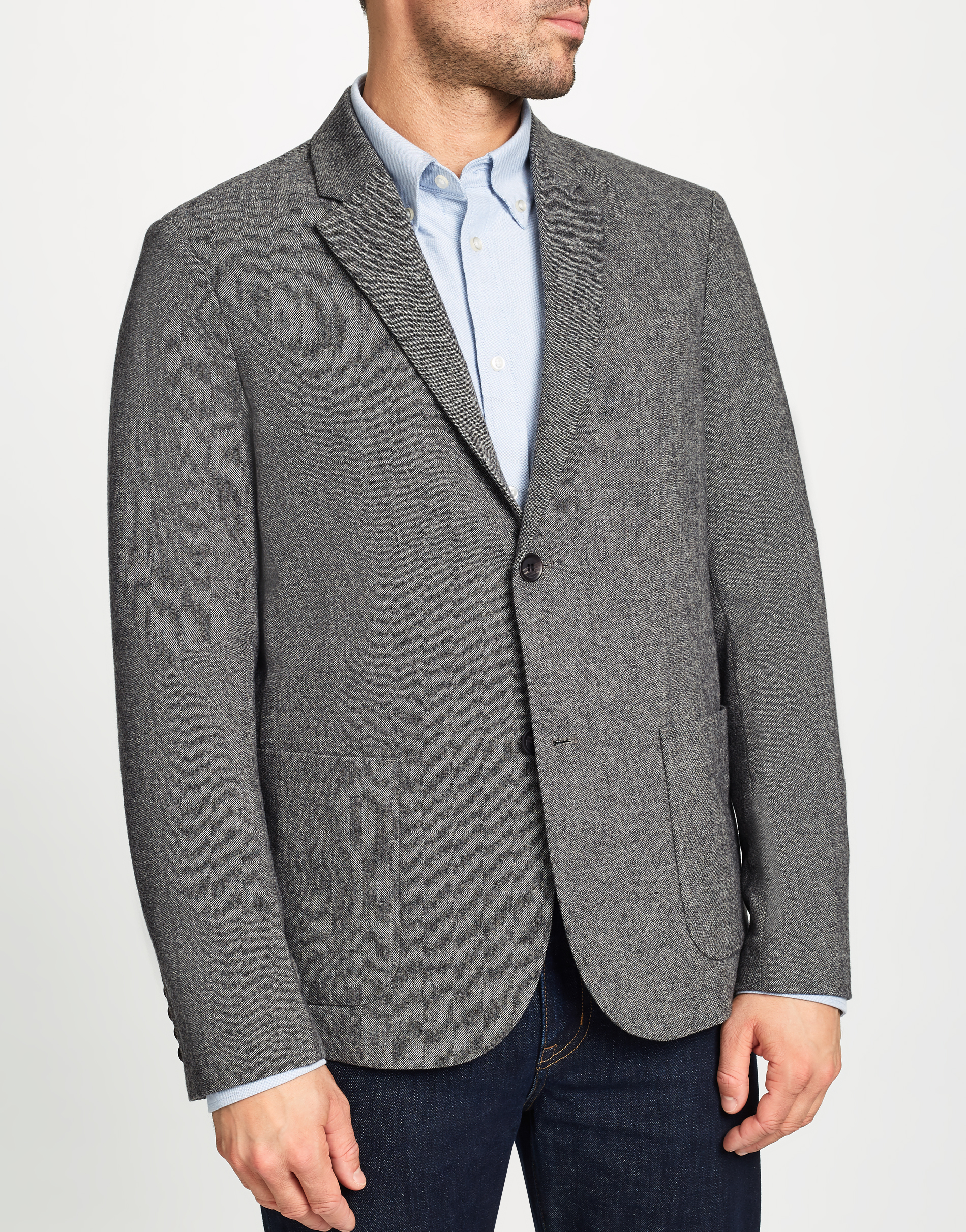 MVP Grey Hooper Wool Blend Hopsack Jacket - Charcoal