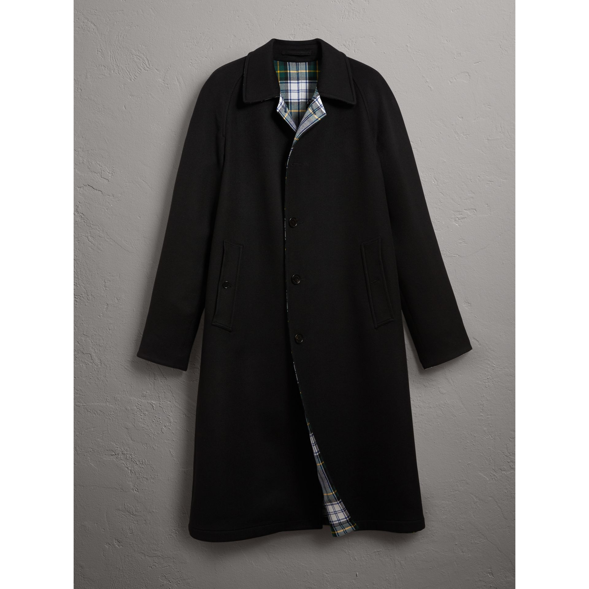 Burberry Black Reversible Cashmere and Tartan Wool Car Coat