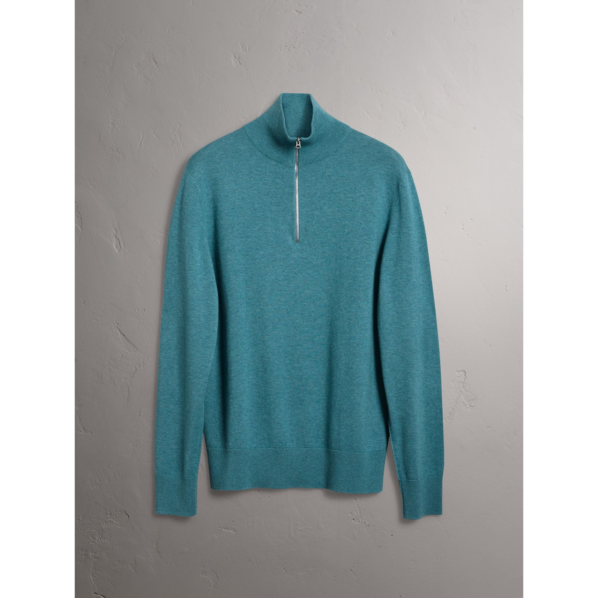 Burberry Grey Blue Zip-neck Cashmere Cotton Sweater