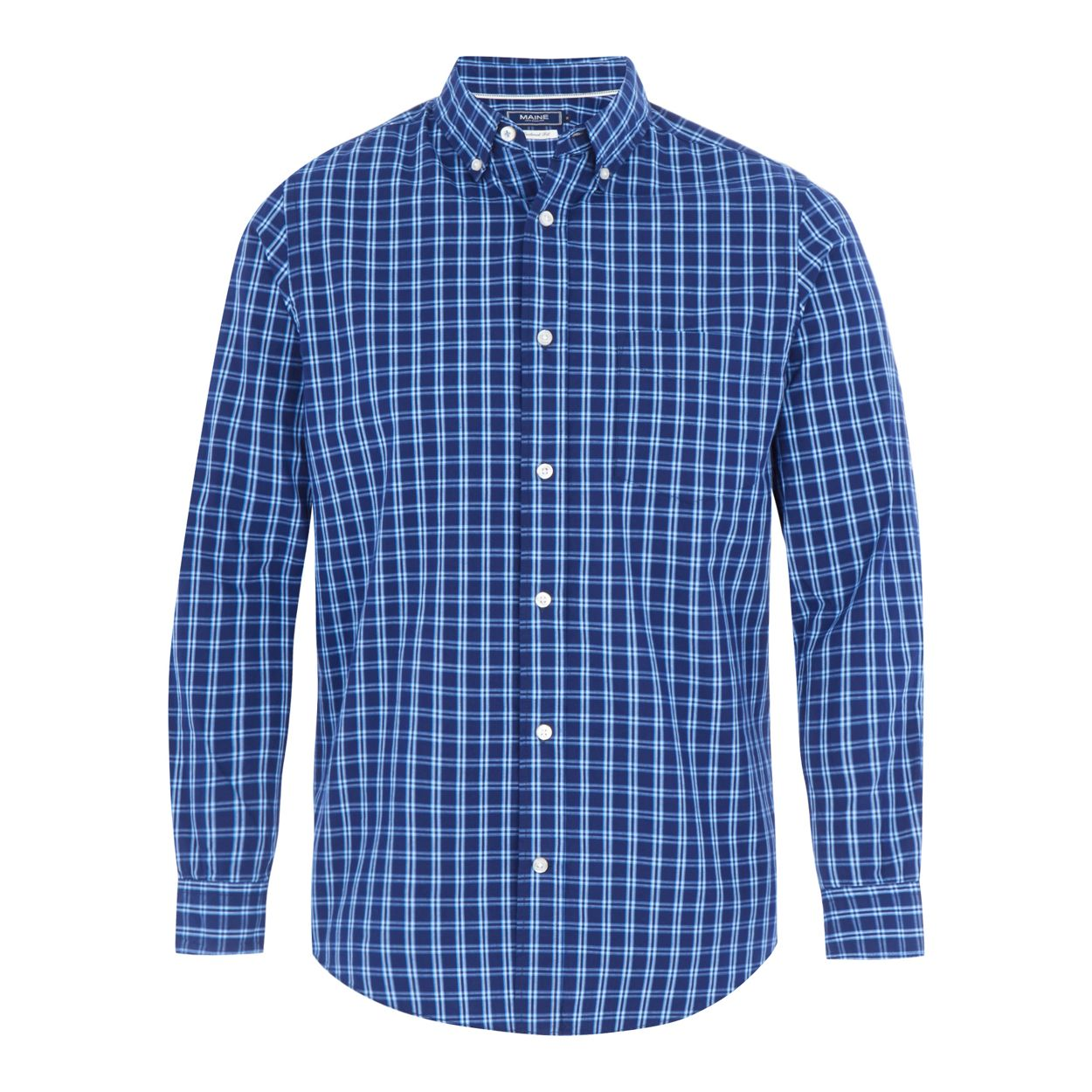 Maine New England Navy Blue checked tailored fit shirt