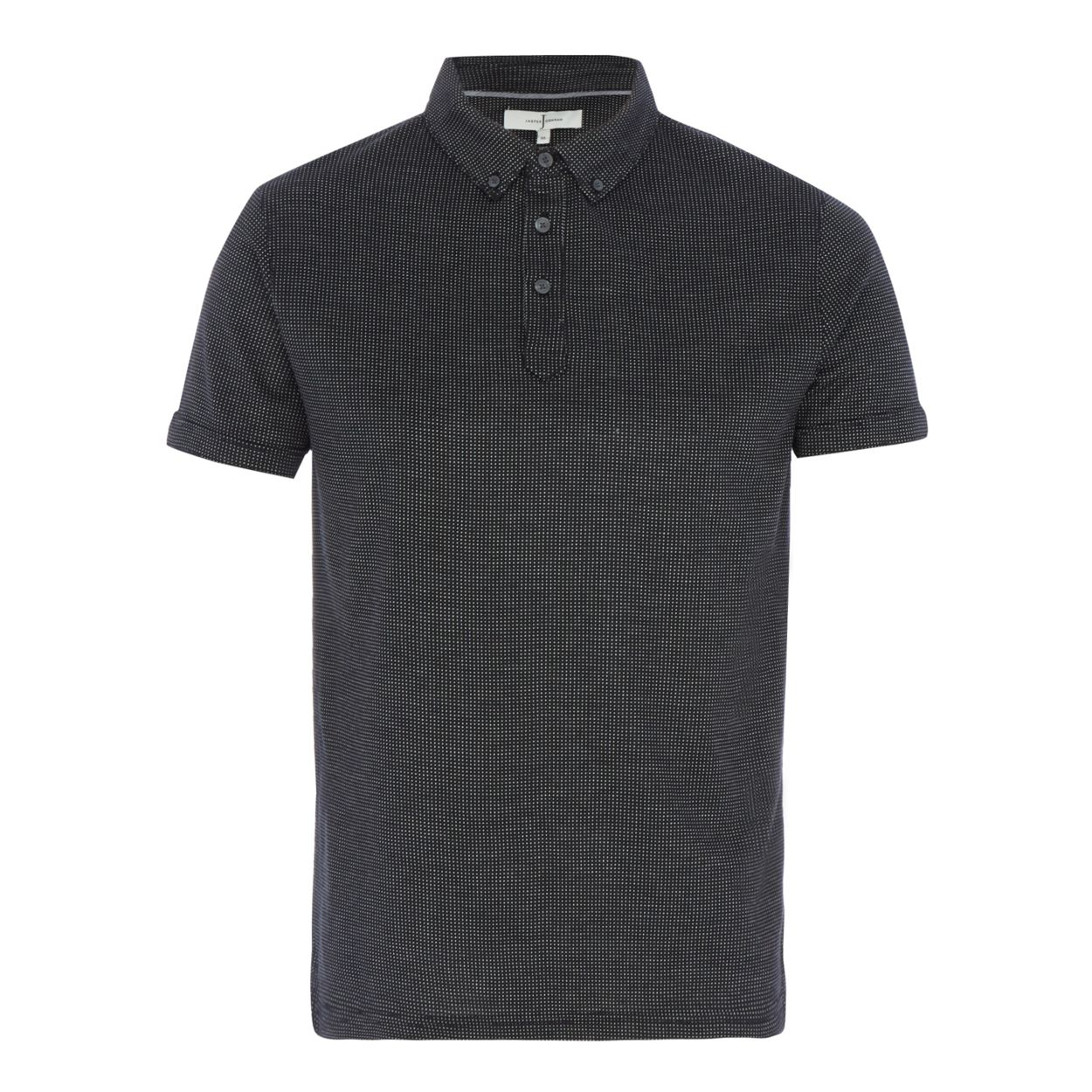 J by Jasper Conran Black birdseye polo shirt