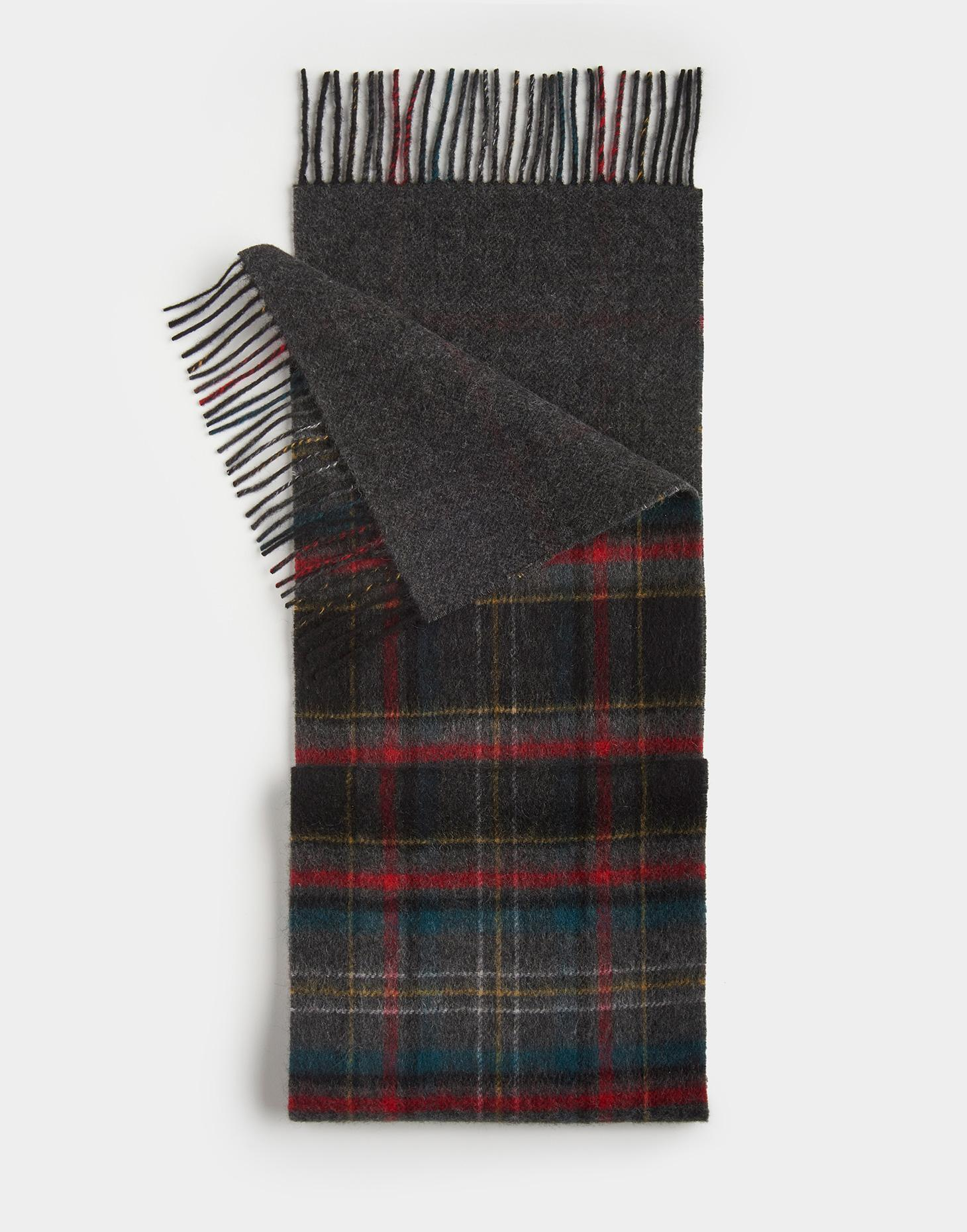 Joules Coal Check BRAMHILL Wool Scarf