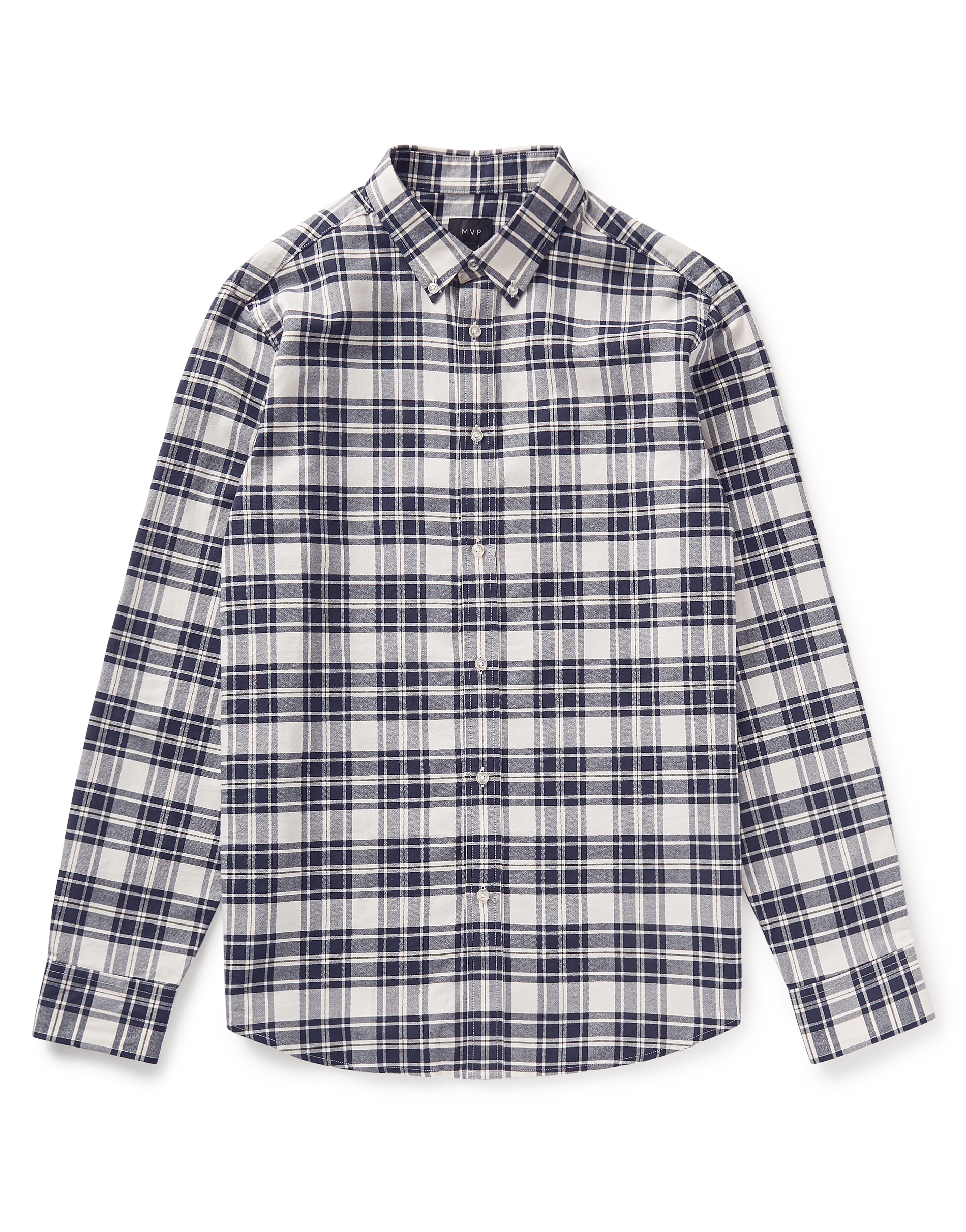 MVP Navy Check Baxendale Brushed Cotton Oxford Check Shirt - Navy