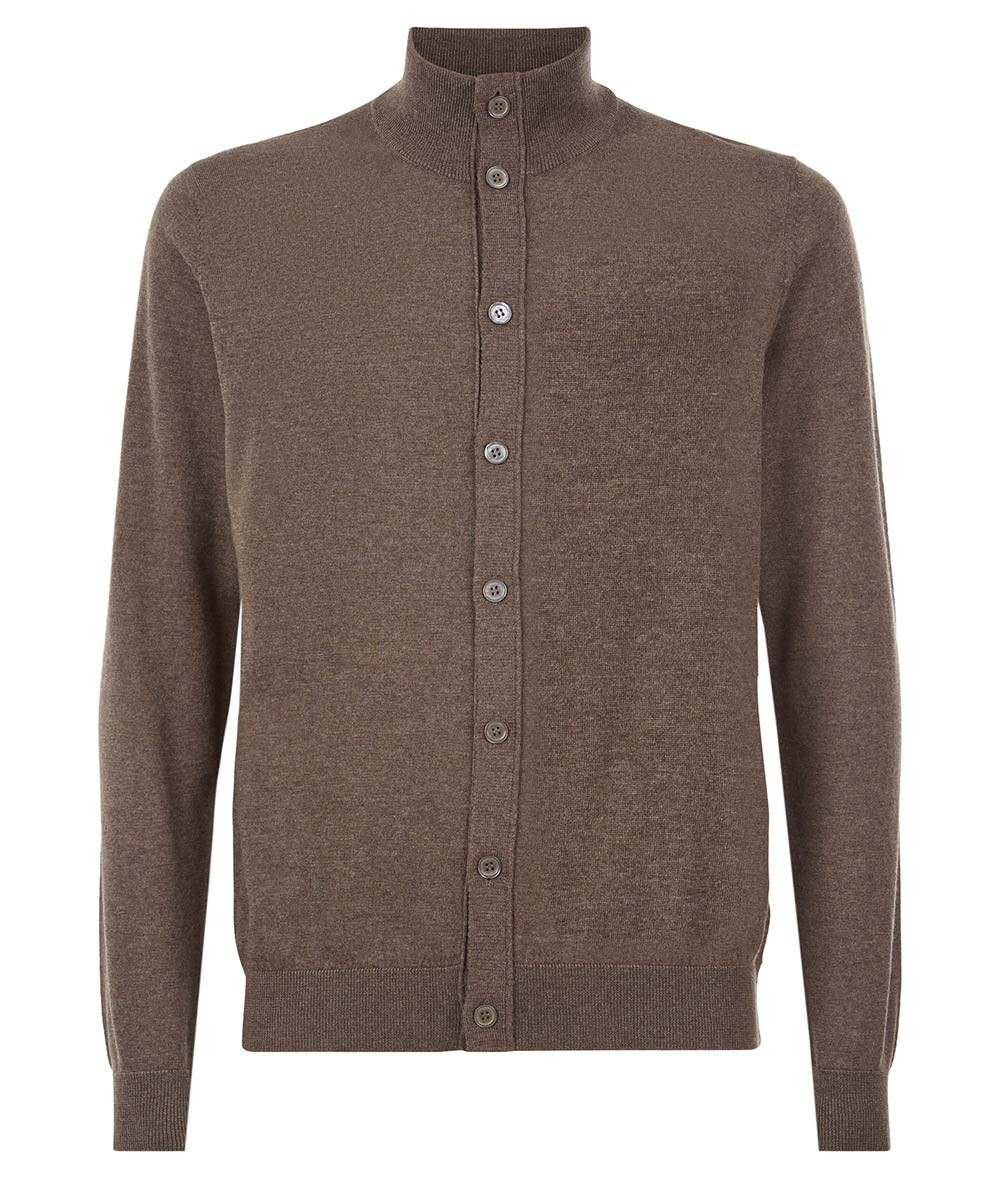 Nigel Hall Mid Brown Button Funnel Neck Cardigan - Andreas