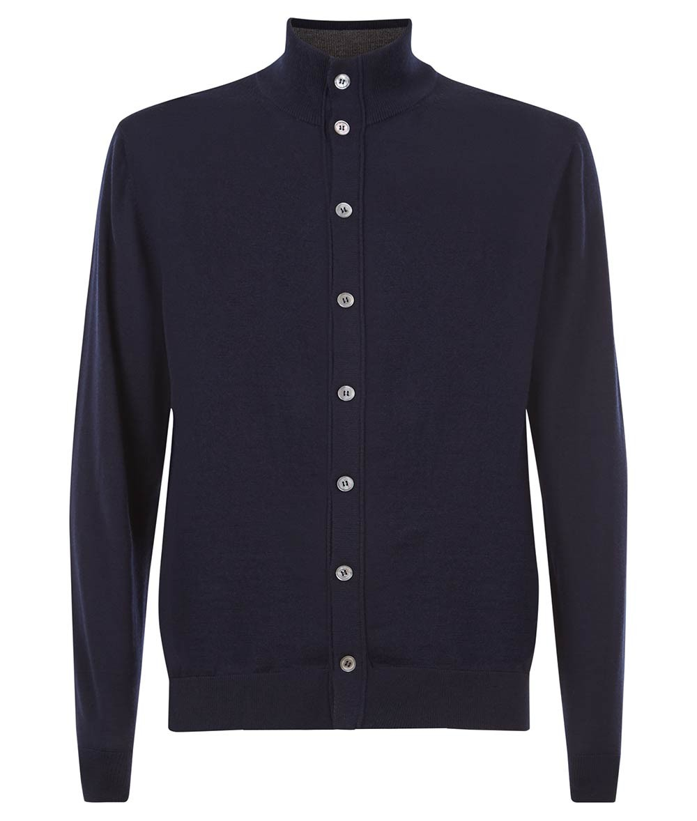 Nigel Hall Navy Button Funnel Neck Cardigan - Andreas