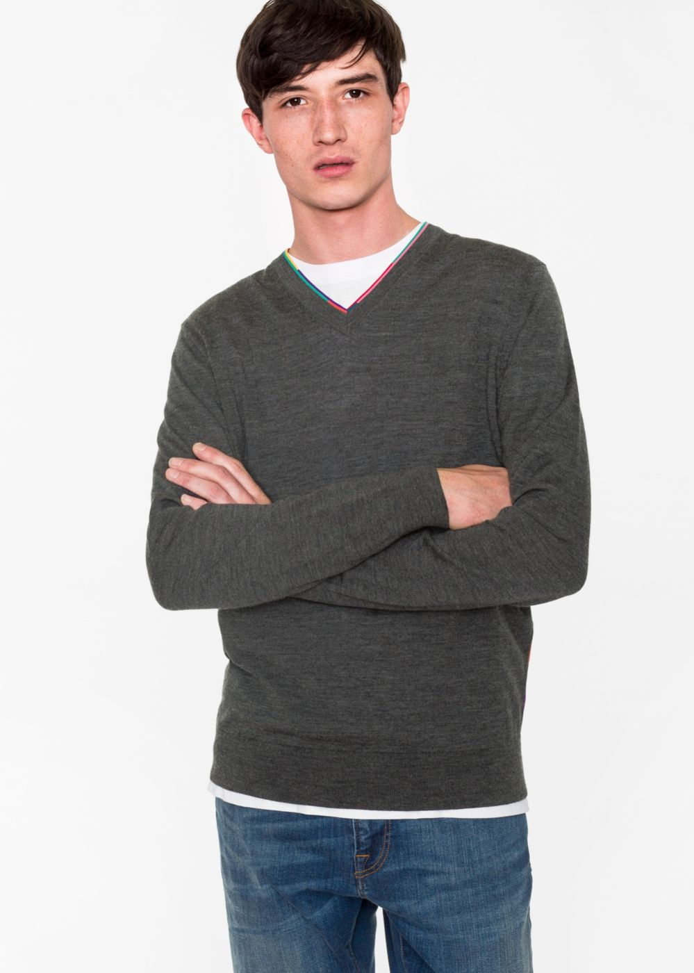 Paul Smith Men's Grey Marl Wool-Blend V-Neck Sweater With Multi-Coloured Stripe Detailing