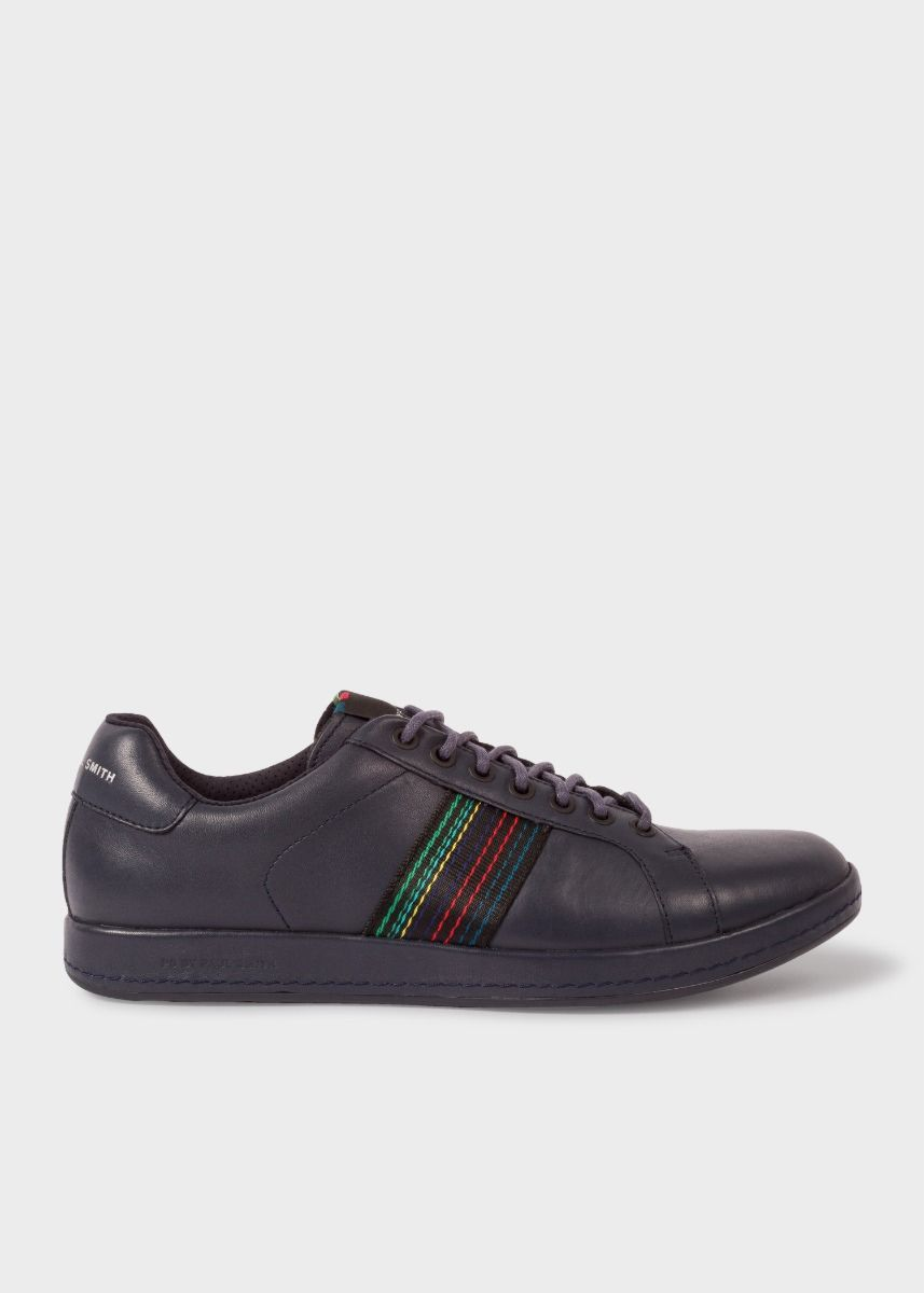 Paul Smith Men's Navy Leather 'Lapin' Trainers With Striped Webbing