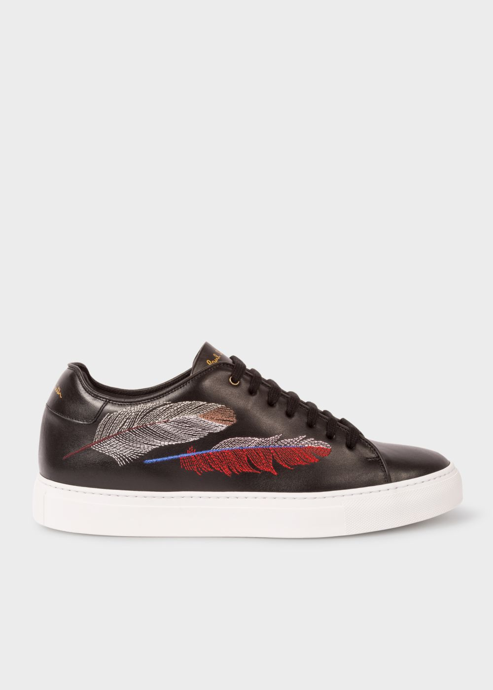 Paul Smith Men's Black Leather 'Basso' Trainers With Feather Embroidery