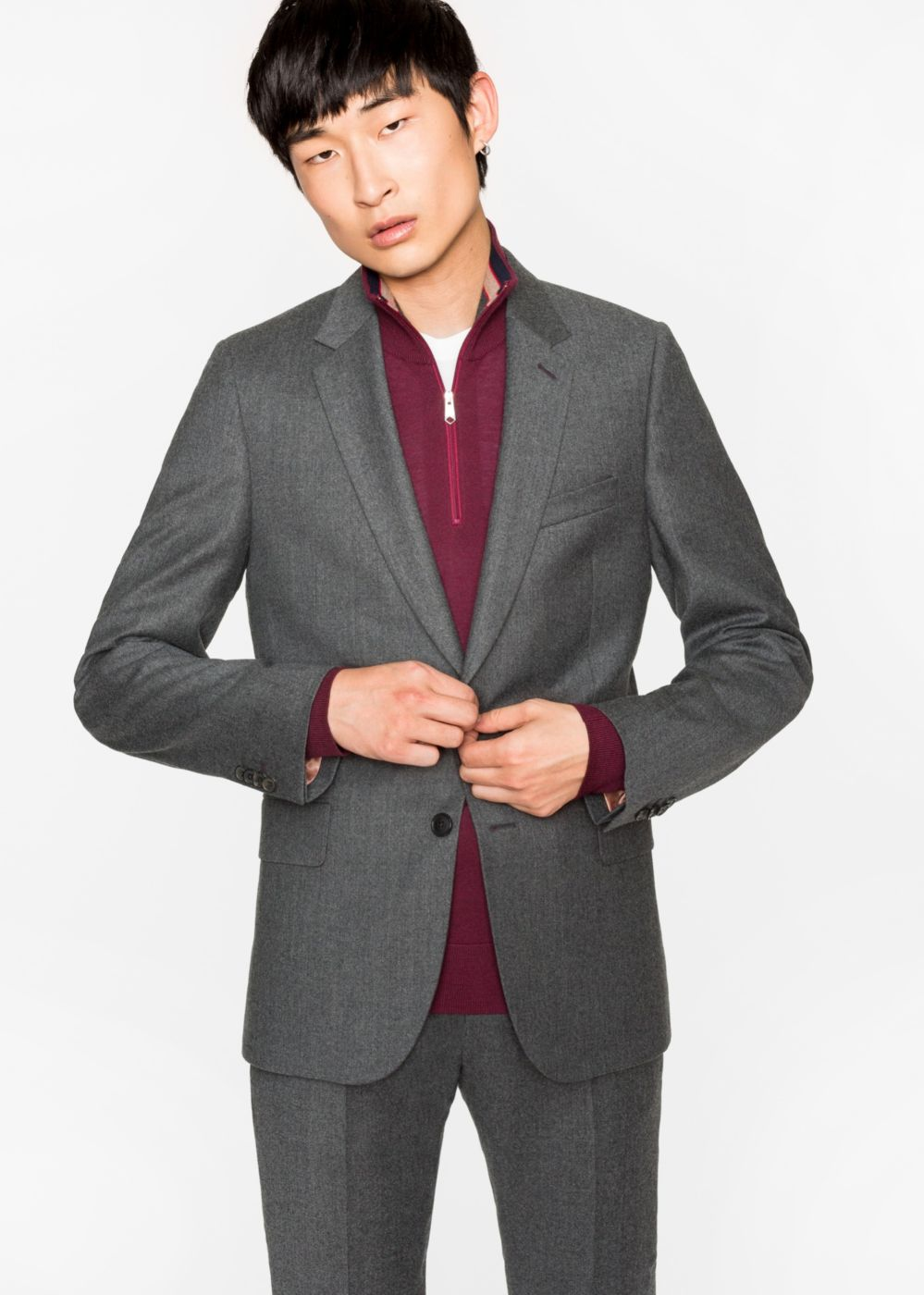 Paul Smith Men's Tailored-Fit Grey Marl Wool-Cashmere Blazer
