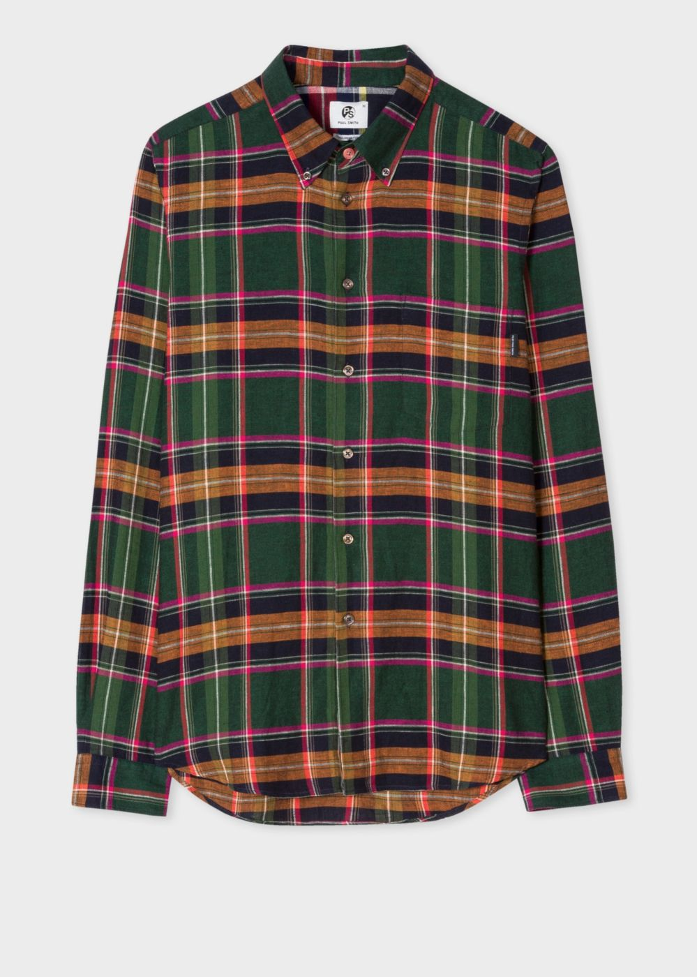 Paul Smith Men's Tailored-Fit Green, Orange And Pink Check Cotton-Linen Button-Down Shirt