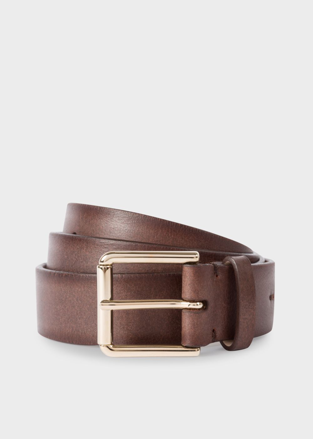 Paul Smith Men's Chocolate Brown Burnished Leather Belt