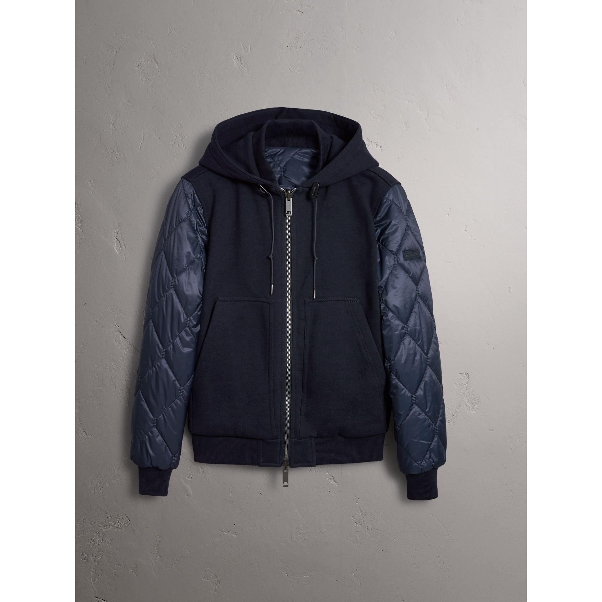Burberry Navy Reversible Quilted Cotton Hooded Bomber Jacket
