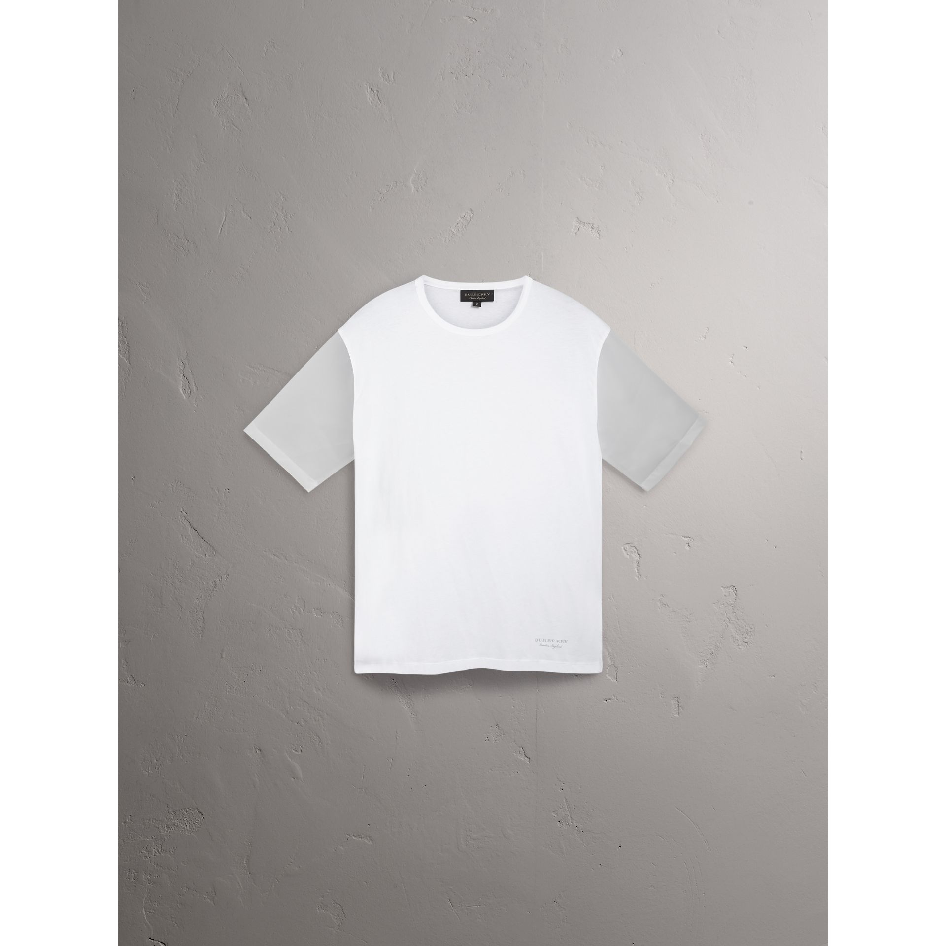 Burberry White Cotton and Soft-touch Plastic T-shirt