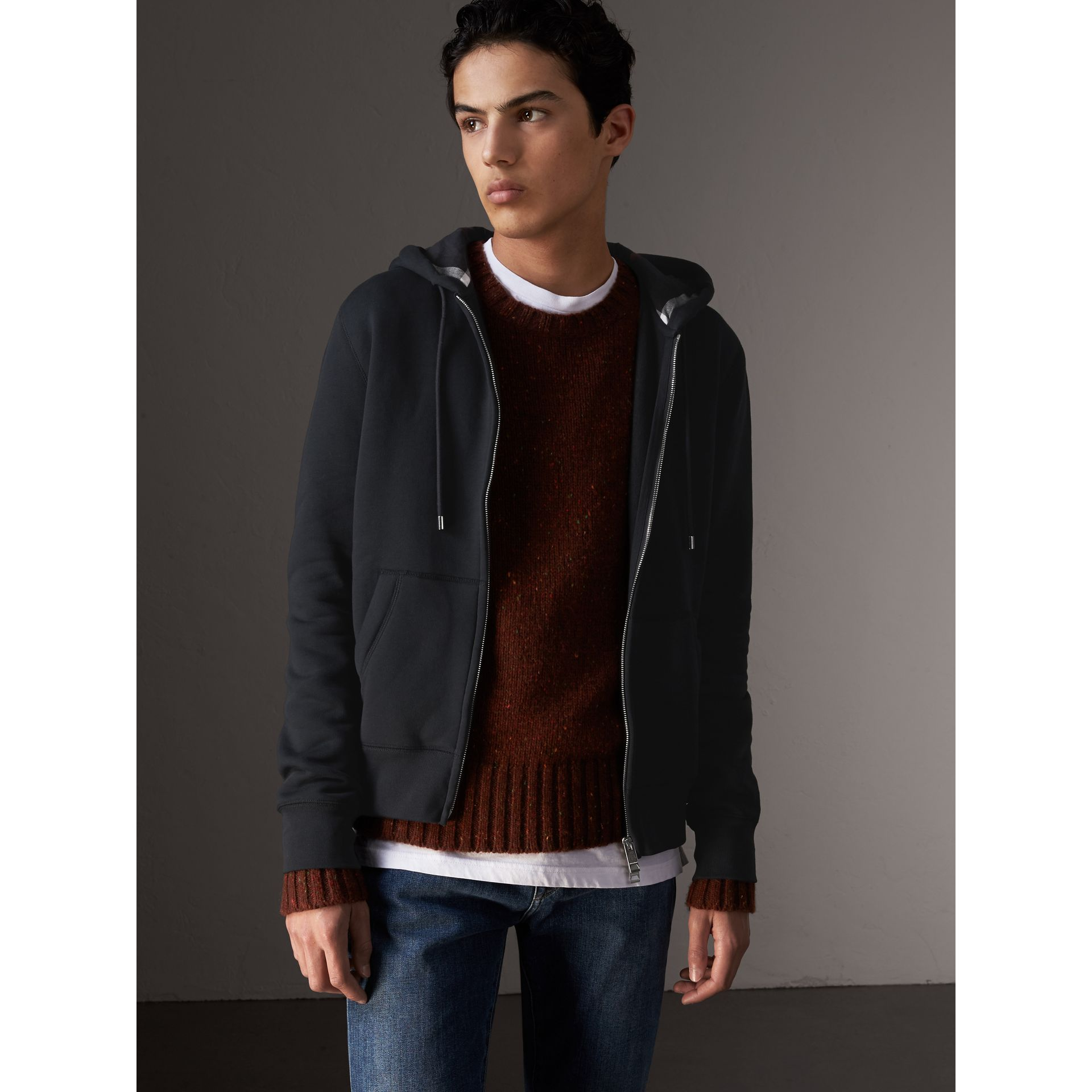 Burberry Navy Hooded Cotton Jersey Top